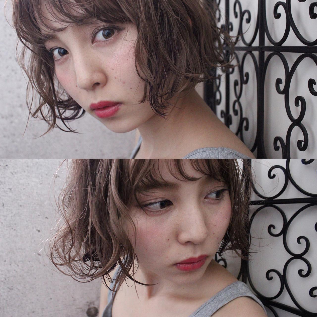 ニュアンス 色気 ウェーブ ボブ ヘアスタイルや髪型の写真・画像