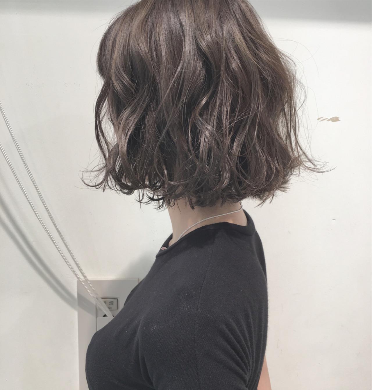 透明感 パーマ ナチュラル ボブ ヘアスタイルや髪型の写真・画像 | 市岡 久 / BLANCOtres