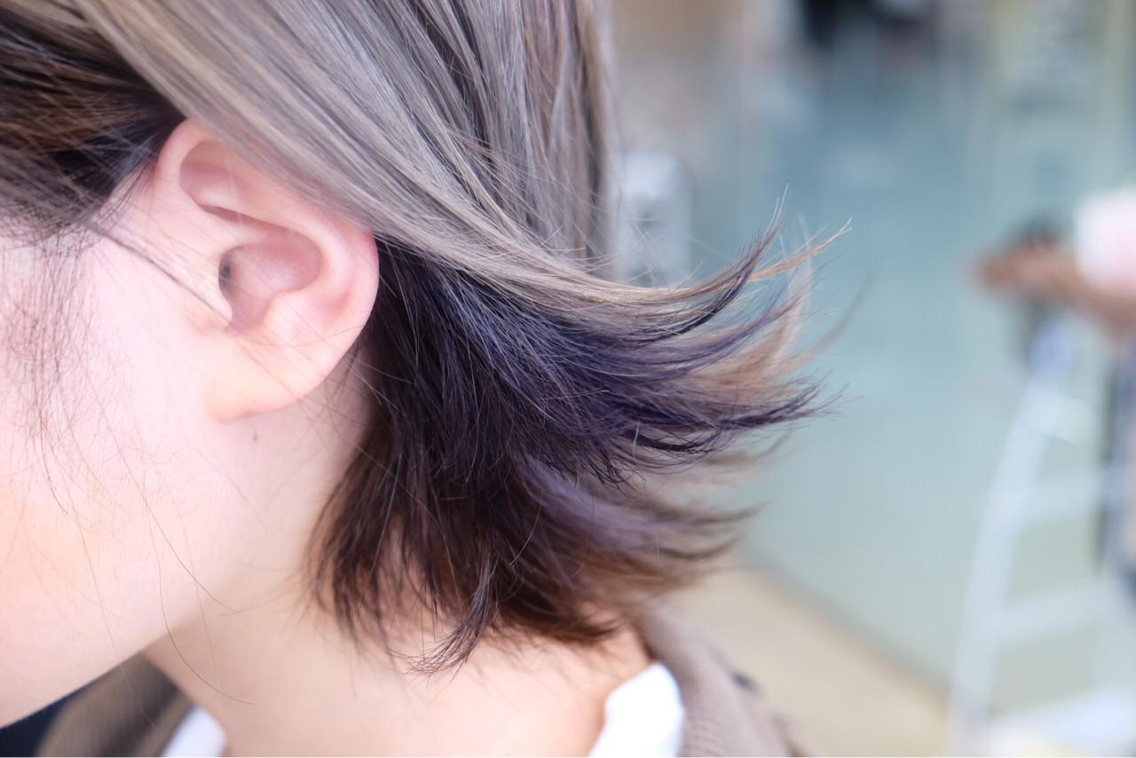 グラデーションカラー ボブ アッシュ アッシュグレージュ ヘアスタイルや髪型の写真・画像