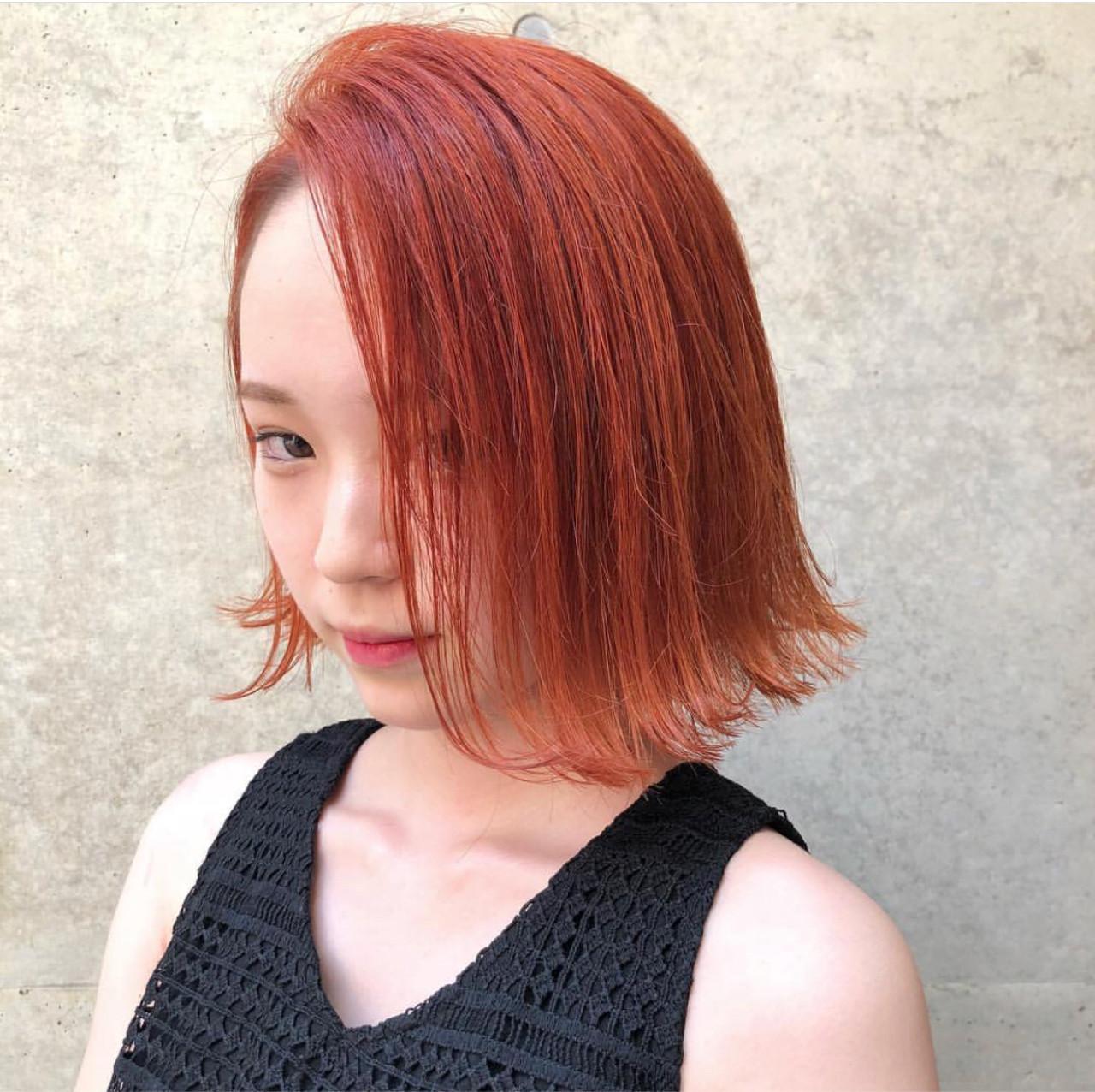 オルチャン オレンジ ボブ イエロー ヘアスタイルや髪型の写真・画像 | AKANE / LOGUE