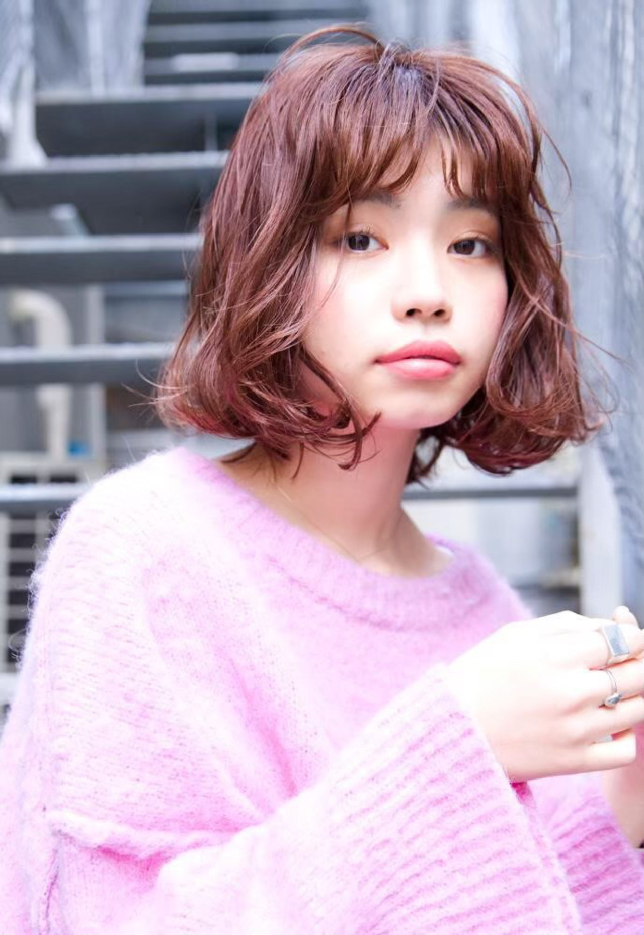 ピンク ゆるふわ ミディアム ロブ ヘアスタイルや髪型の写真・画像