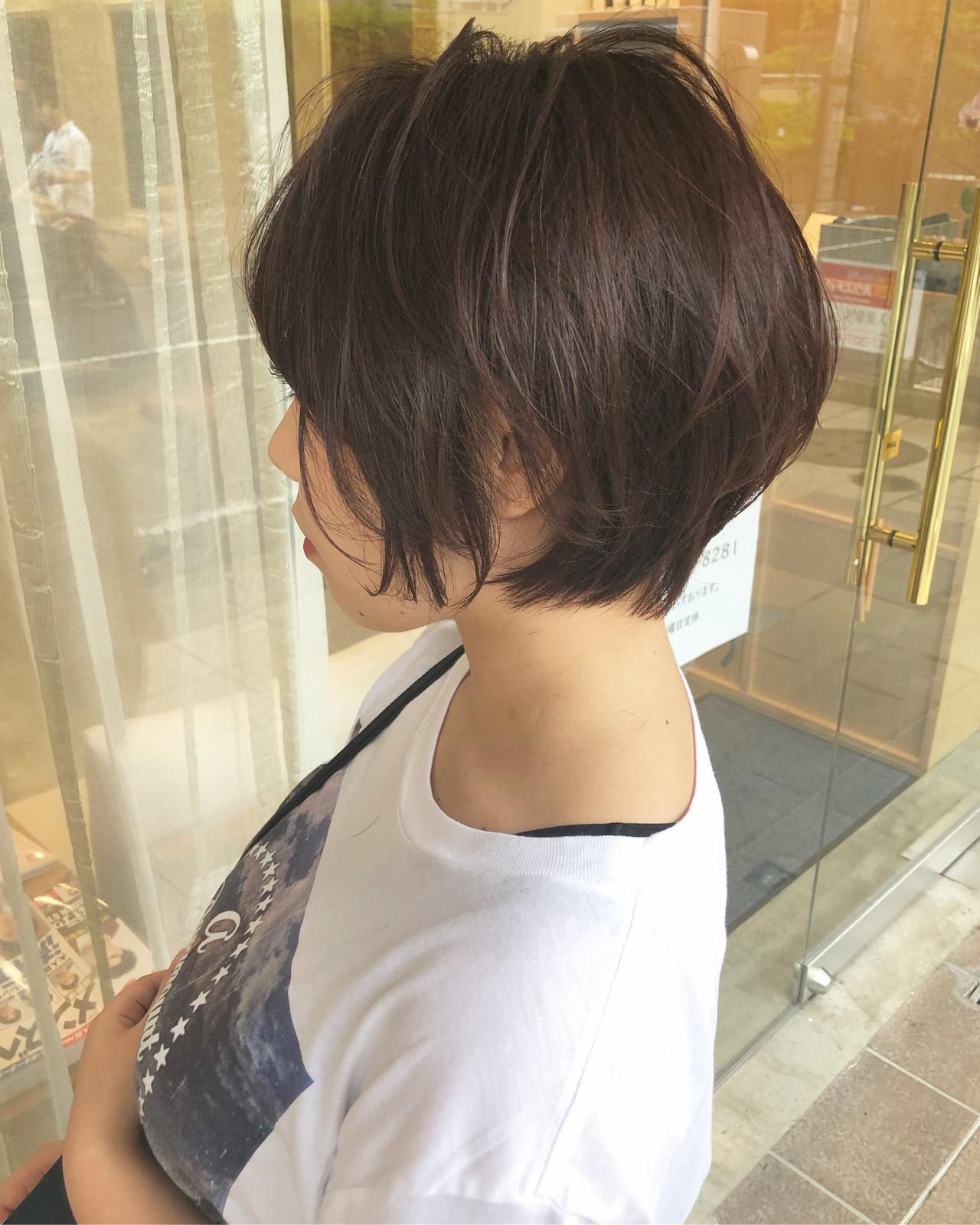 大人ショート ショートボブ ナチュラル ショートヘア ヘアスタイルや髪型の写真・画像