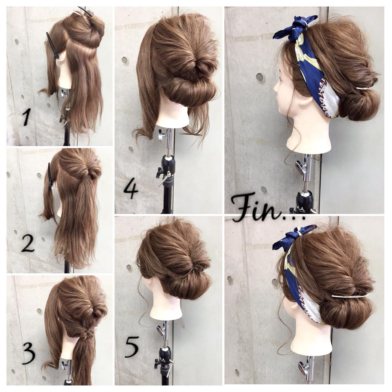 大人女子 セミロング ヘアアクセ 簡単ヘアアレンジ ヘアスタイルや髪型の写真・画像