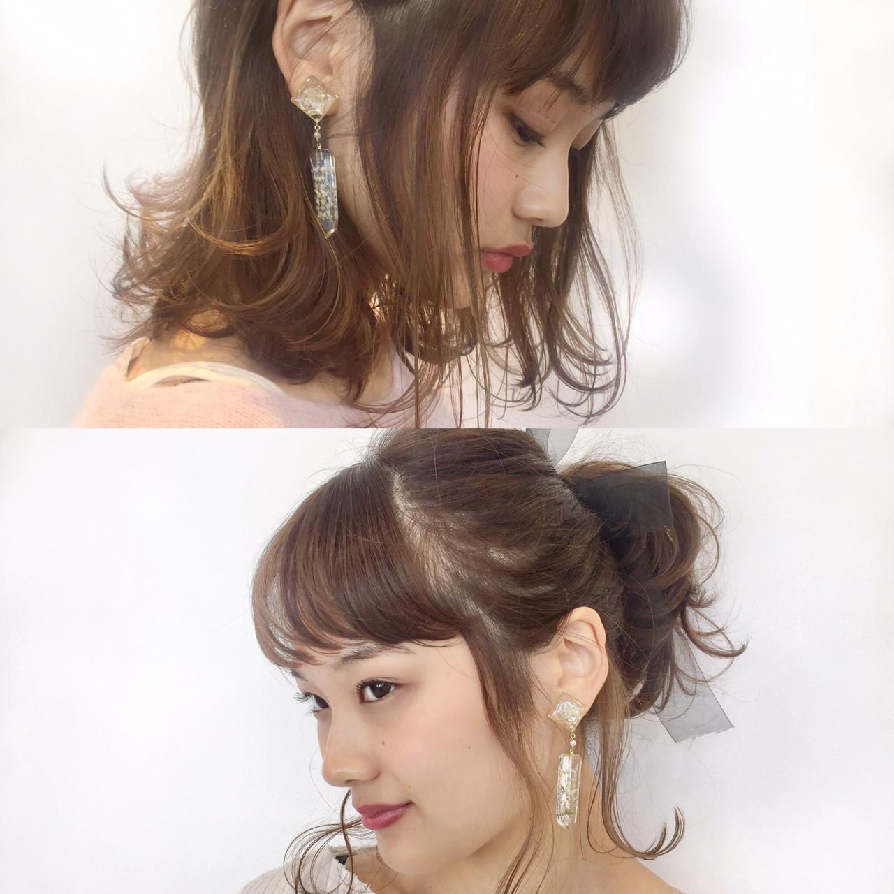 前髪あり デート フリンジバング 簡単ヘアアレンジ ヘアスタイルや髪型の写真・画像