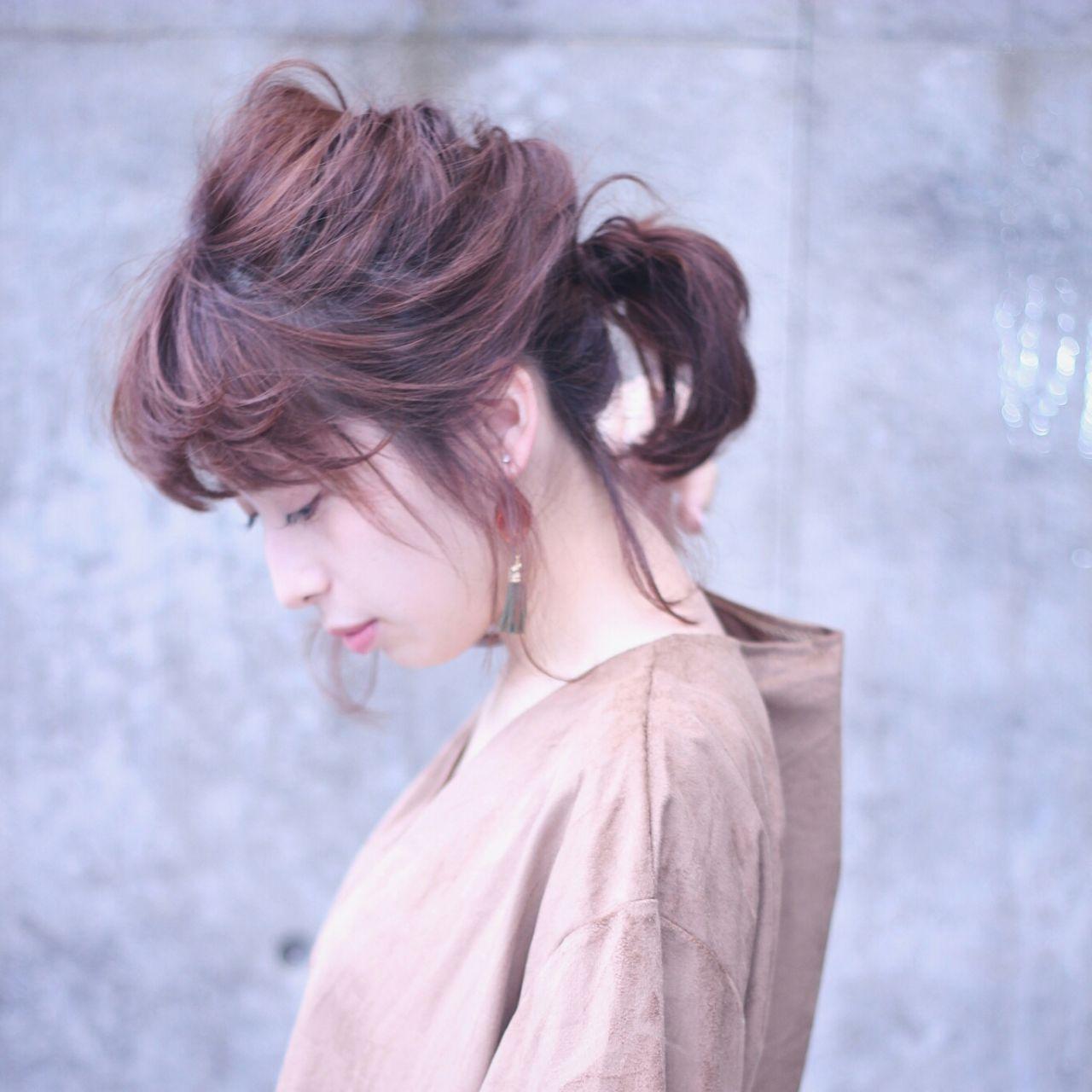 大人かわいい ナチュラル ポニーテール マルサラ ヘアスタイルや髪型の写真・画像