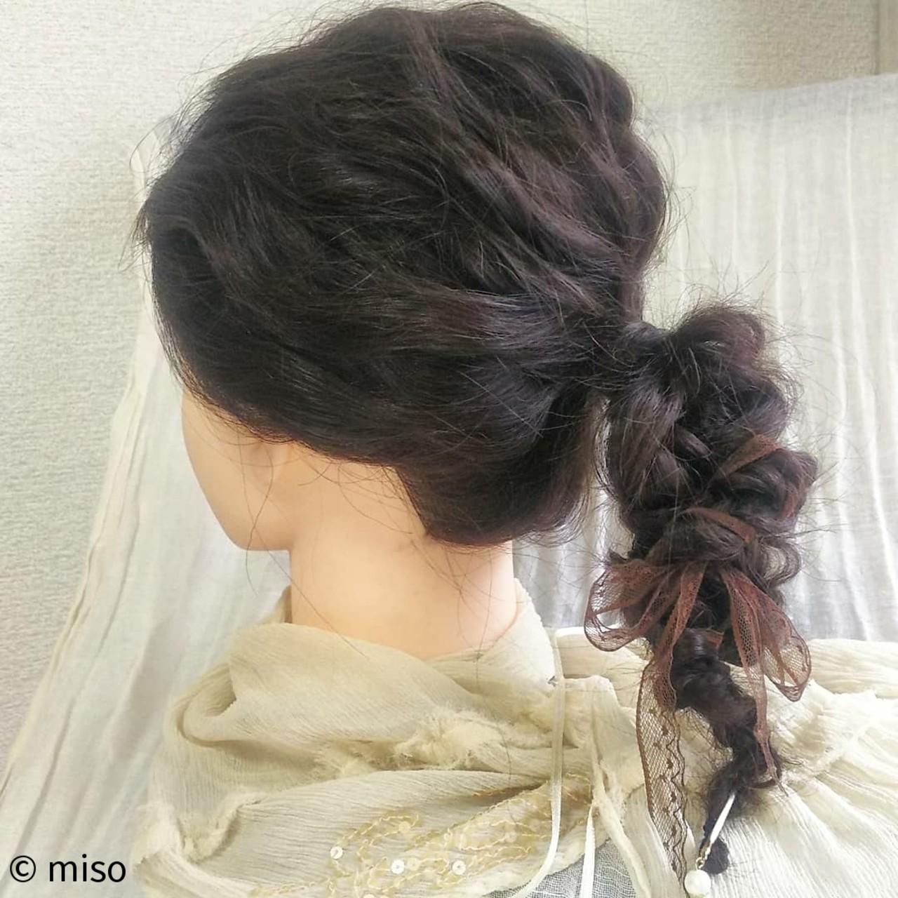 編み込み 三つ編み ガーリー ロング ヘアスタイルや髪型の写真・画像