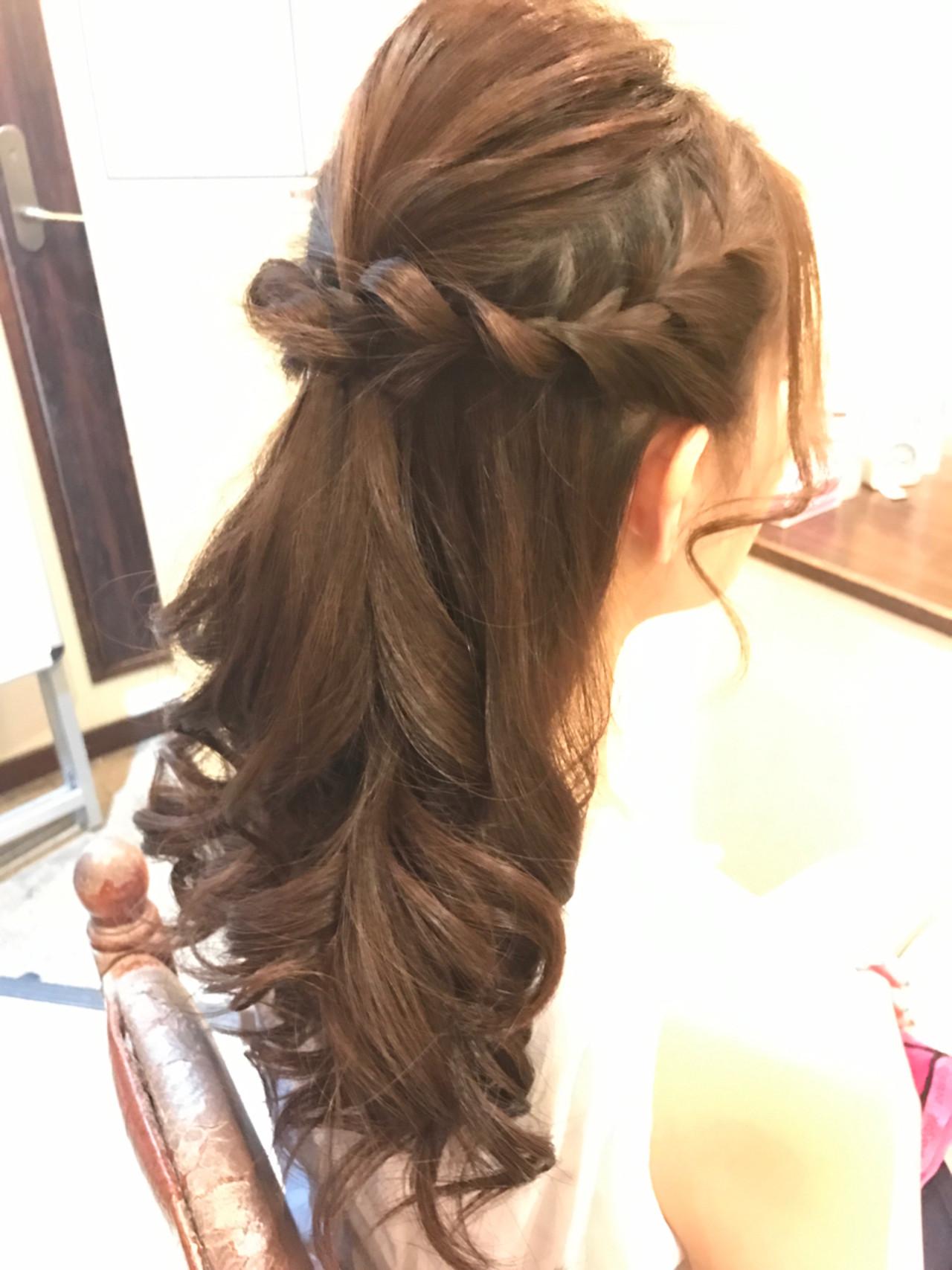 ショート 編み込み フェミニン 結婚式 ヘアスタイルや髪型の写真・画像 | 大和田 誠 / Anphi 弘明寺