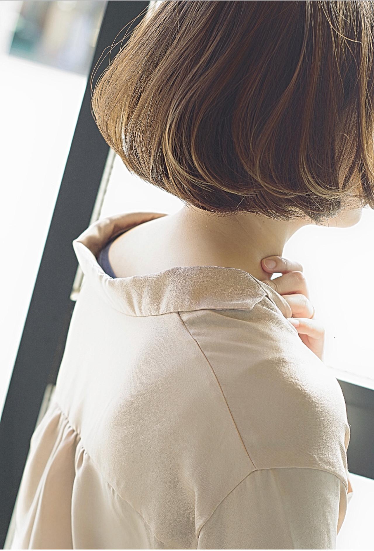 デート 透明感カラー フェミニン ミニボブ ヘアスタイルや髪型の写真・画像