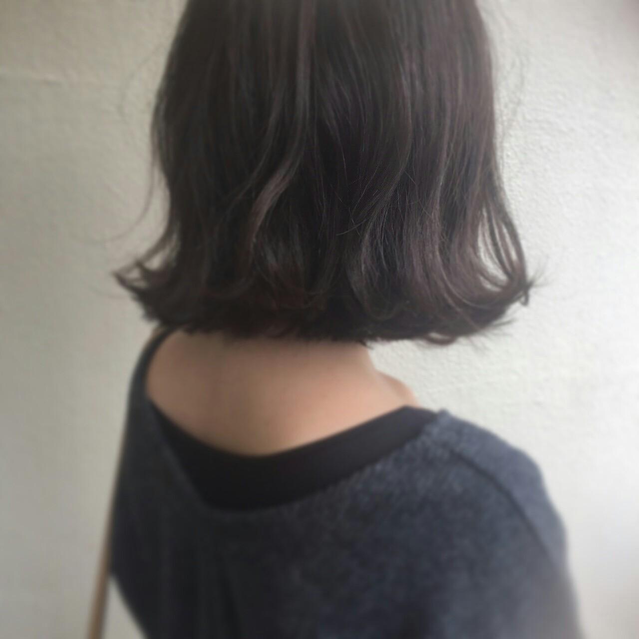 暗髪 外国人風 ボブ 簡単ヘアアレンジ ヘアスタイルや髪型の写真・画像 | 山崎雄太朗 / hair design beer 今泉店