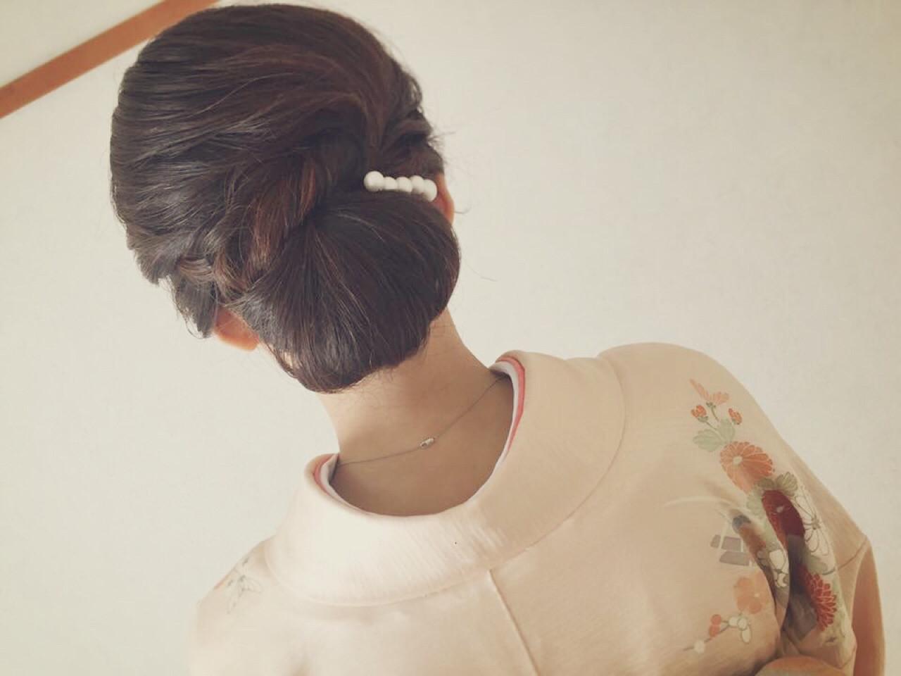 小顔 大人女子 ママ 着物 ヘアスタイルや髪型の写真・画像 | Moriyama Mami / 福岡天神ヘアセット・着付け専門店【Three-keys】