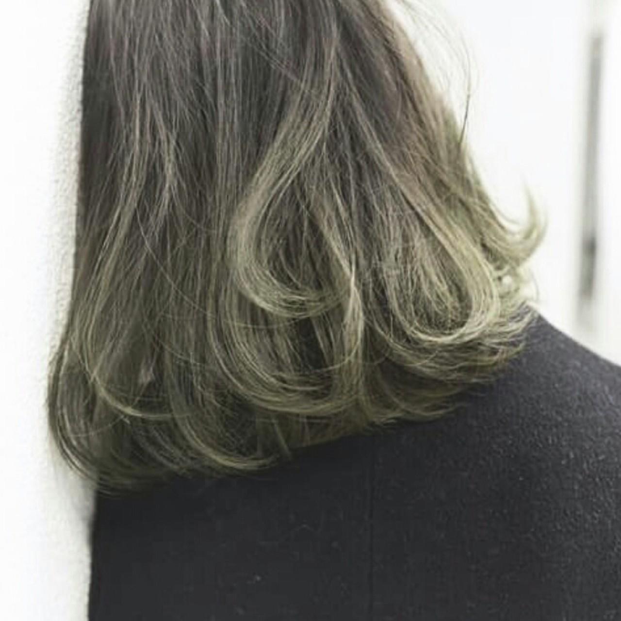 インナーカラー グラデーションカラー ストリート ボブ ヘアスタイルや髪型の写真・画像