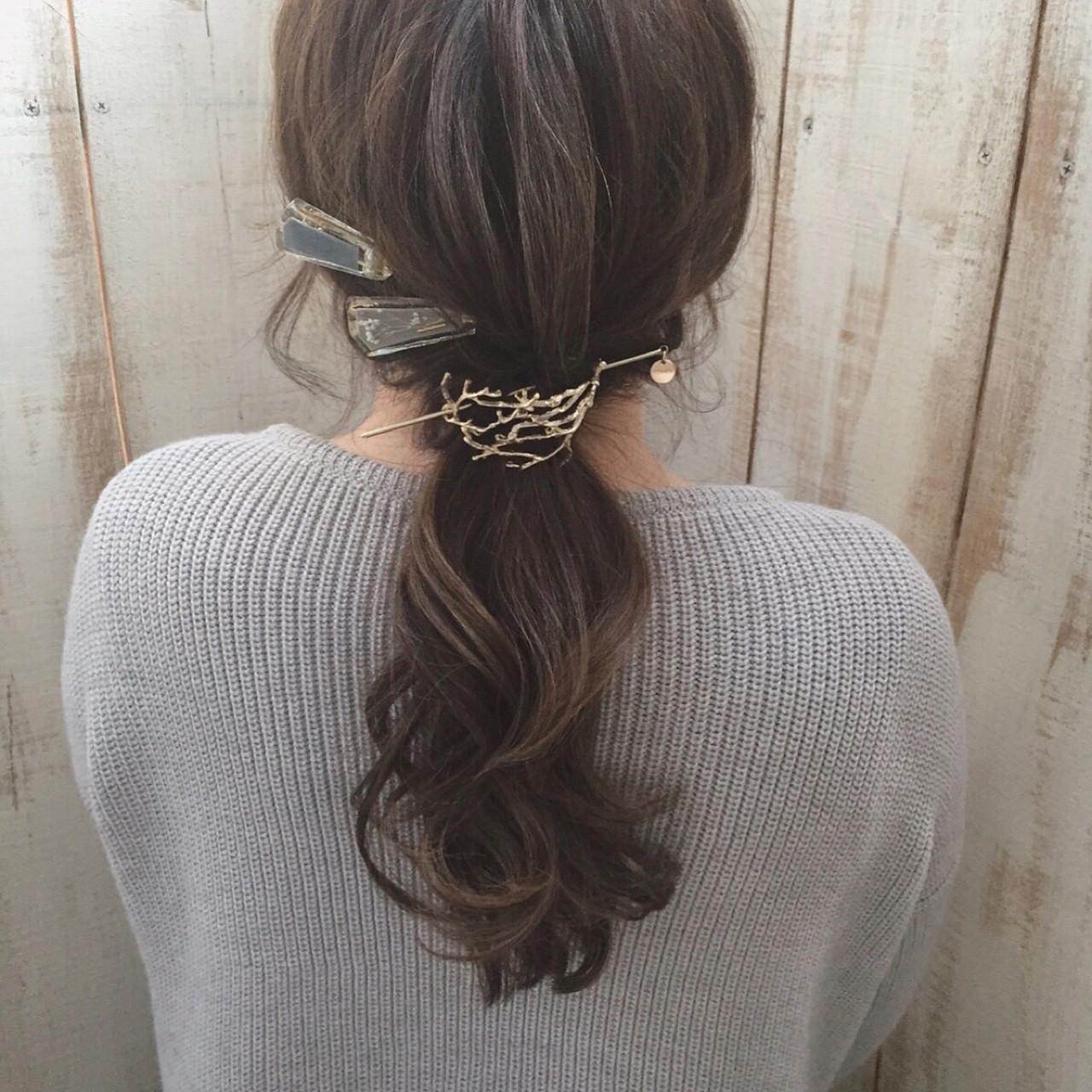ネイビー 3Dカラー ロング アッシュ ヘアスタイルや髪型の写真・画像