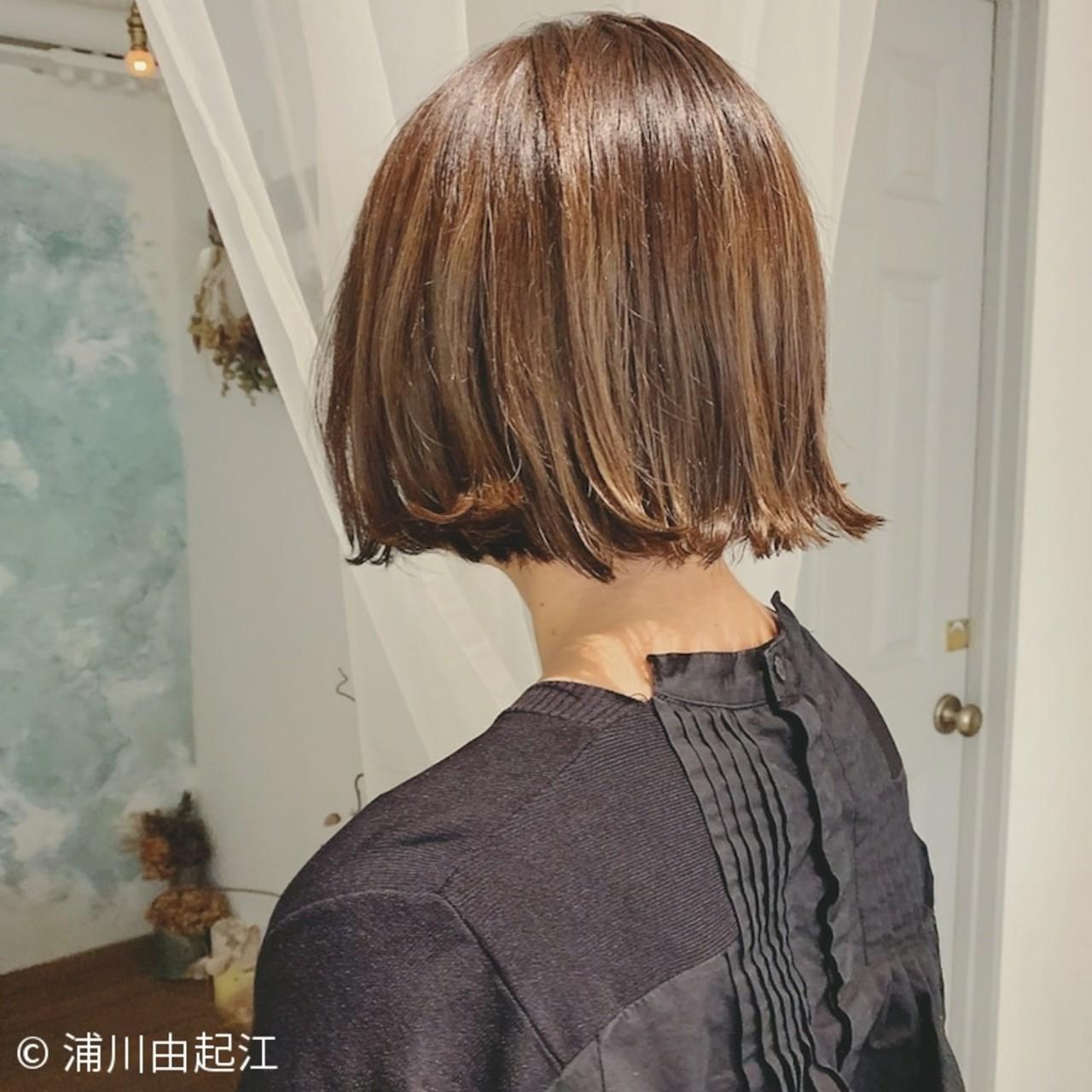 大人かわいい ボブ ハイライト 切りっぱなしボブ ヘアスタイルや髪型の写真・画像   浦川由起江 / nanon