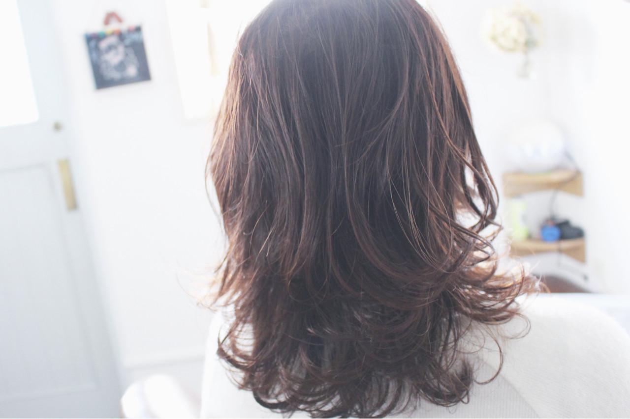透明感 大人女子 ナチュラル ラベンダー ヘアスタイルや髪型の写真・画像