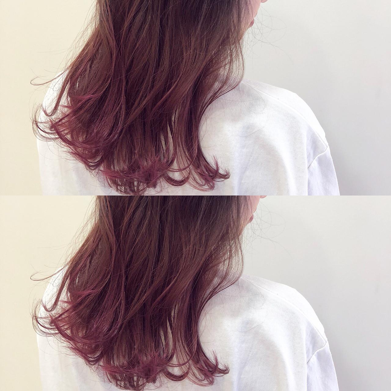ロング レッド ピンク カラーバター ヘアスタイルや髪型の写真・画像