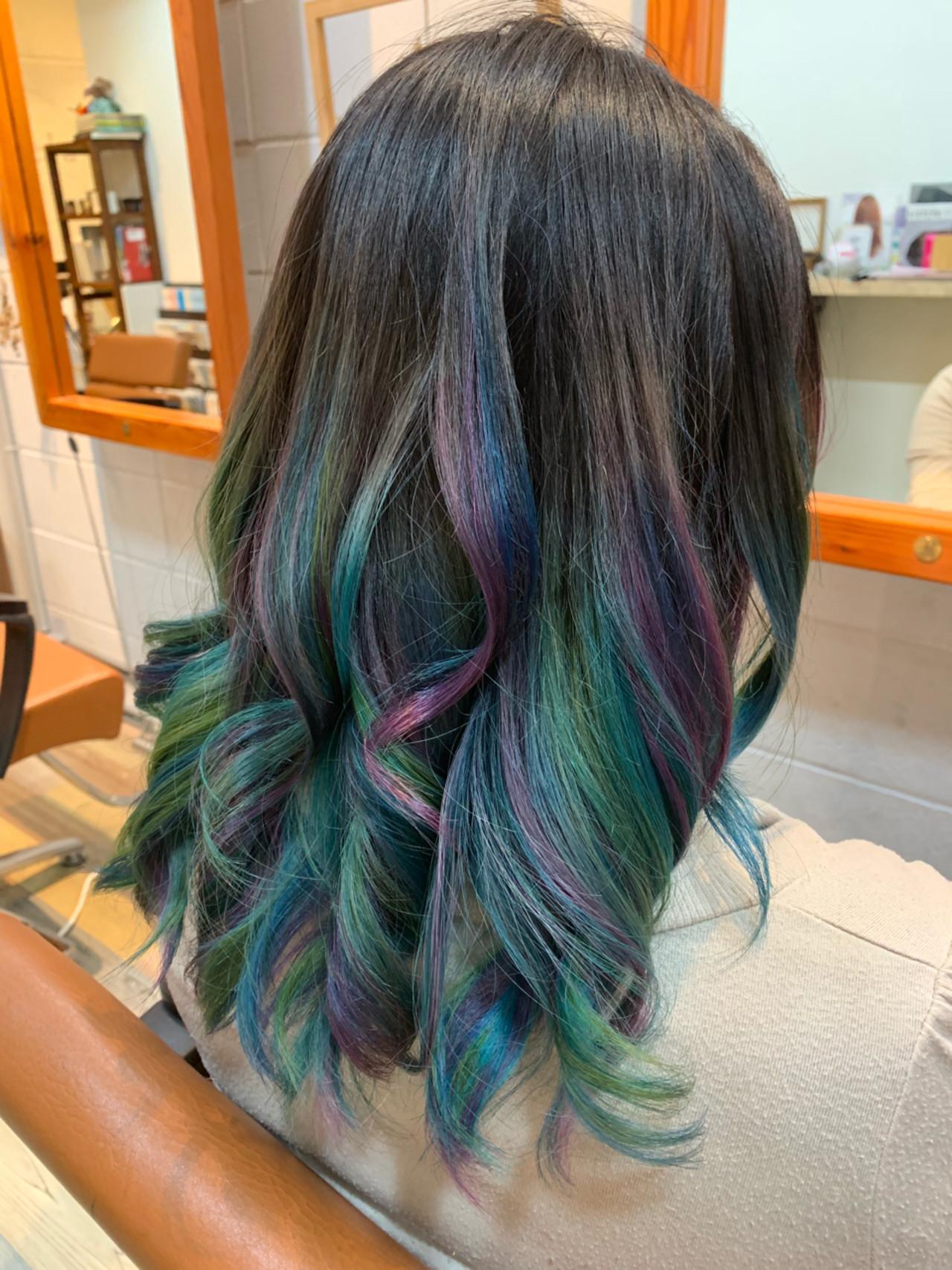 ダブルカラー ストリート ブリーチ セミロング ヘアスタイルや髪型の写真・画像 | Hatori Masaki / rela hair salon