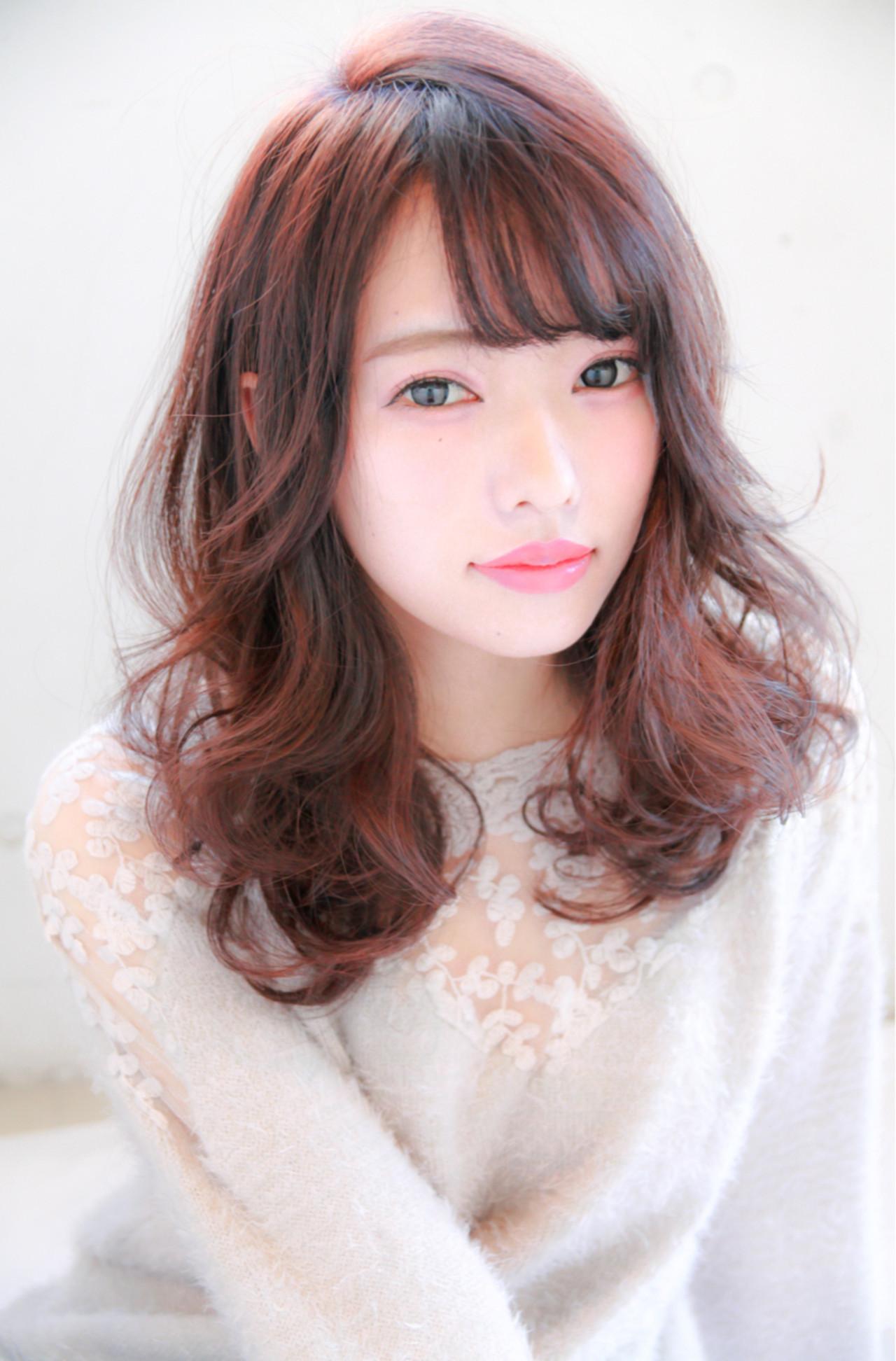 ナチュラル 暗髪 ゆるふわ ピンク ヘアスタイルや髪型の写真・画像