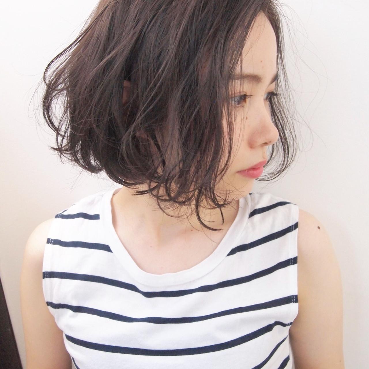 パーマ 透明感 ボブ 秋 ヘアスタイルや髪型の写真・画像