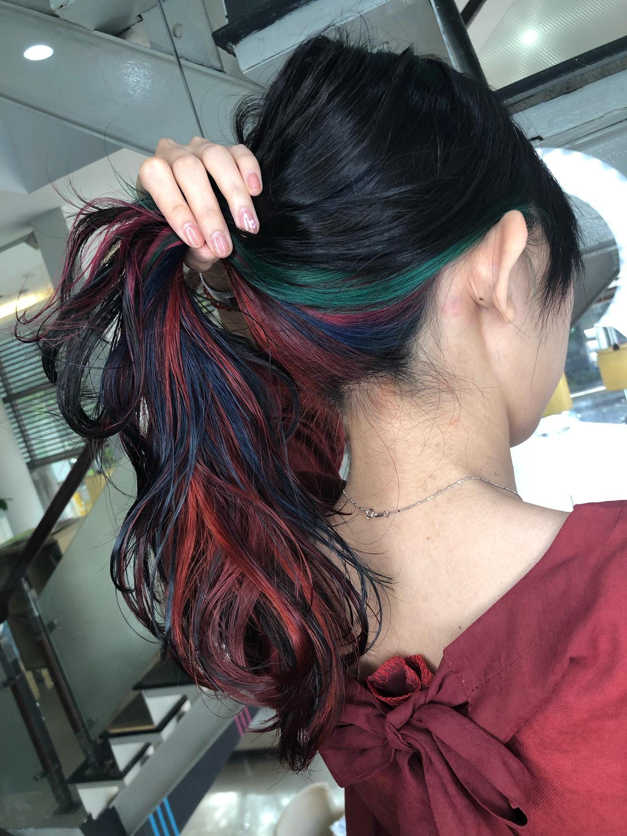 ハイライト ロング ユニコーンカラー バレイヤージュ ヘアスタイルや髪型の写真・画像