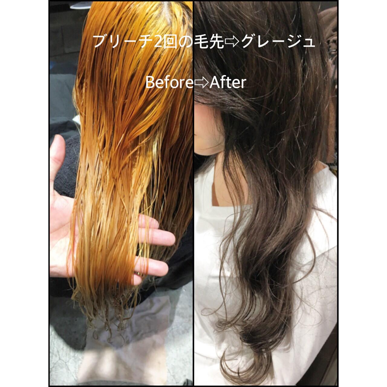 アッシュ ハイライト 暗髪 ロング ヘアスタイルや髪型の写真・画像