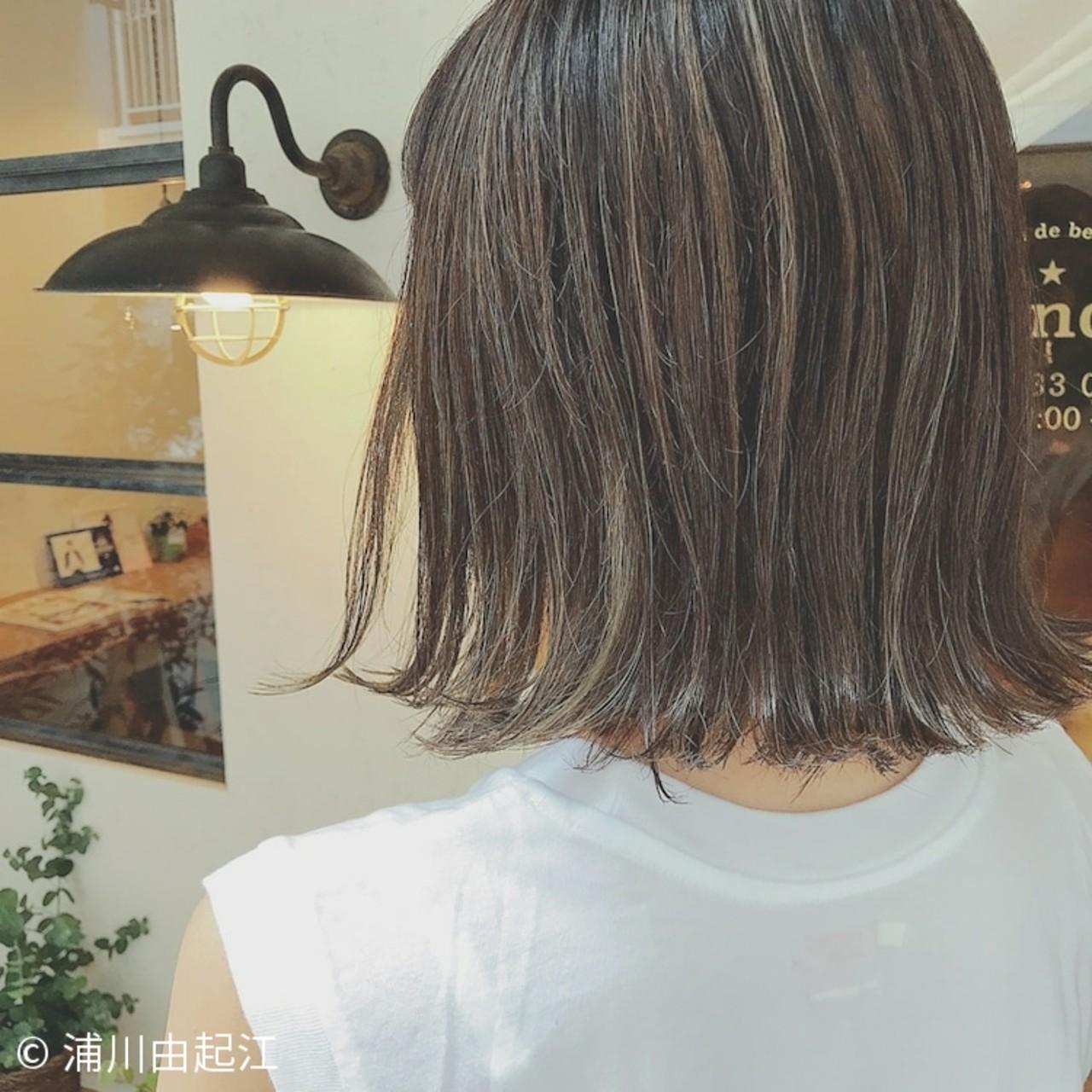 モテ髪 モード ボブ ハイライト ヘアスタイルや髪型の写真・画像