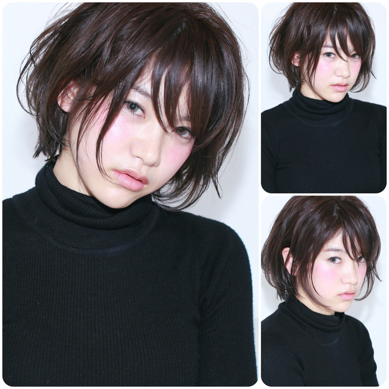 アッシュ ショート ショートボブ 黒髪 ヘアスタイルや髪型の写真・画像