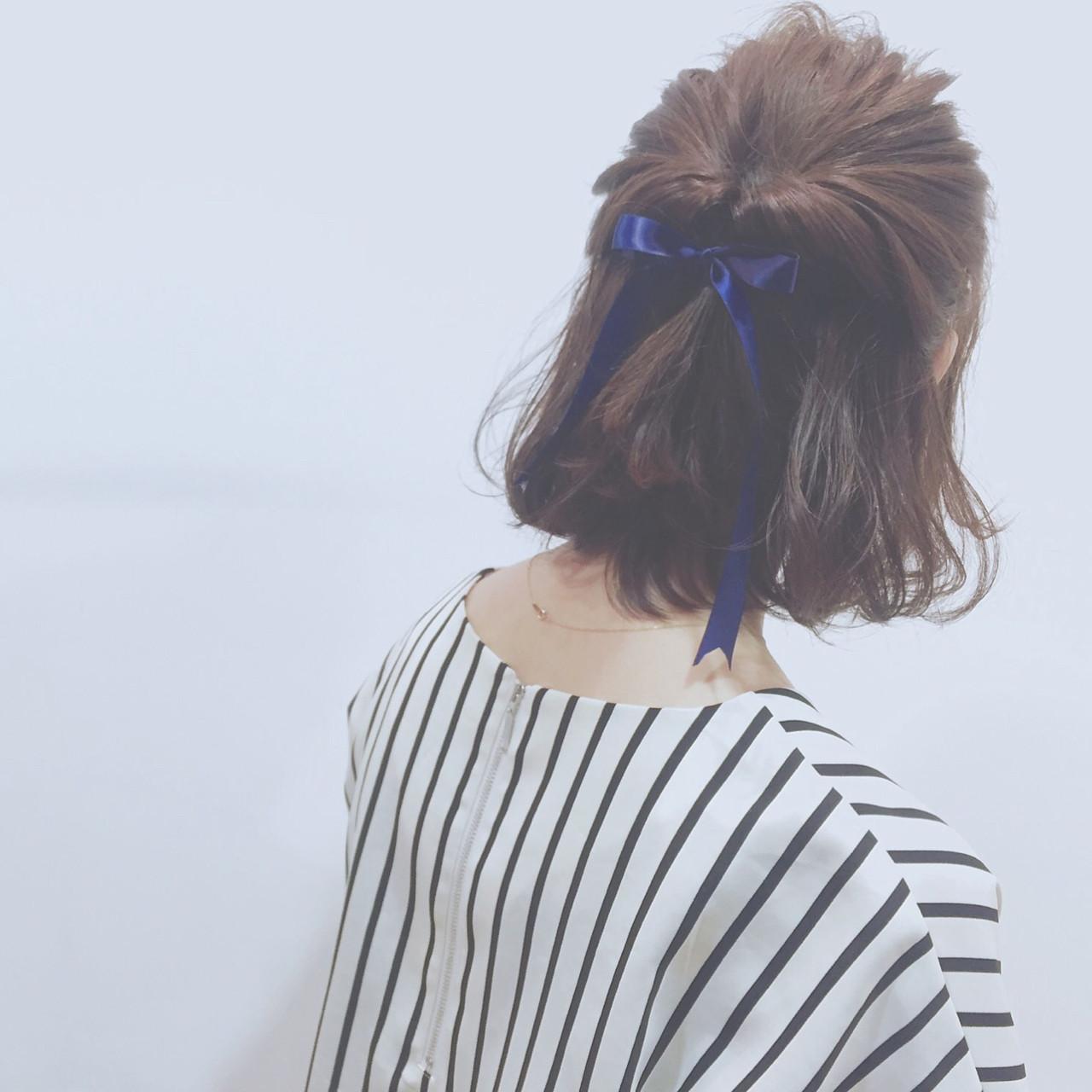 ハーフアップ 簡単ヘアアレンジ 外国人風 ボブ ヘアスタイルや髪型の写真・画像 | 勝田 祐介 / basil pupula