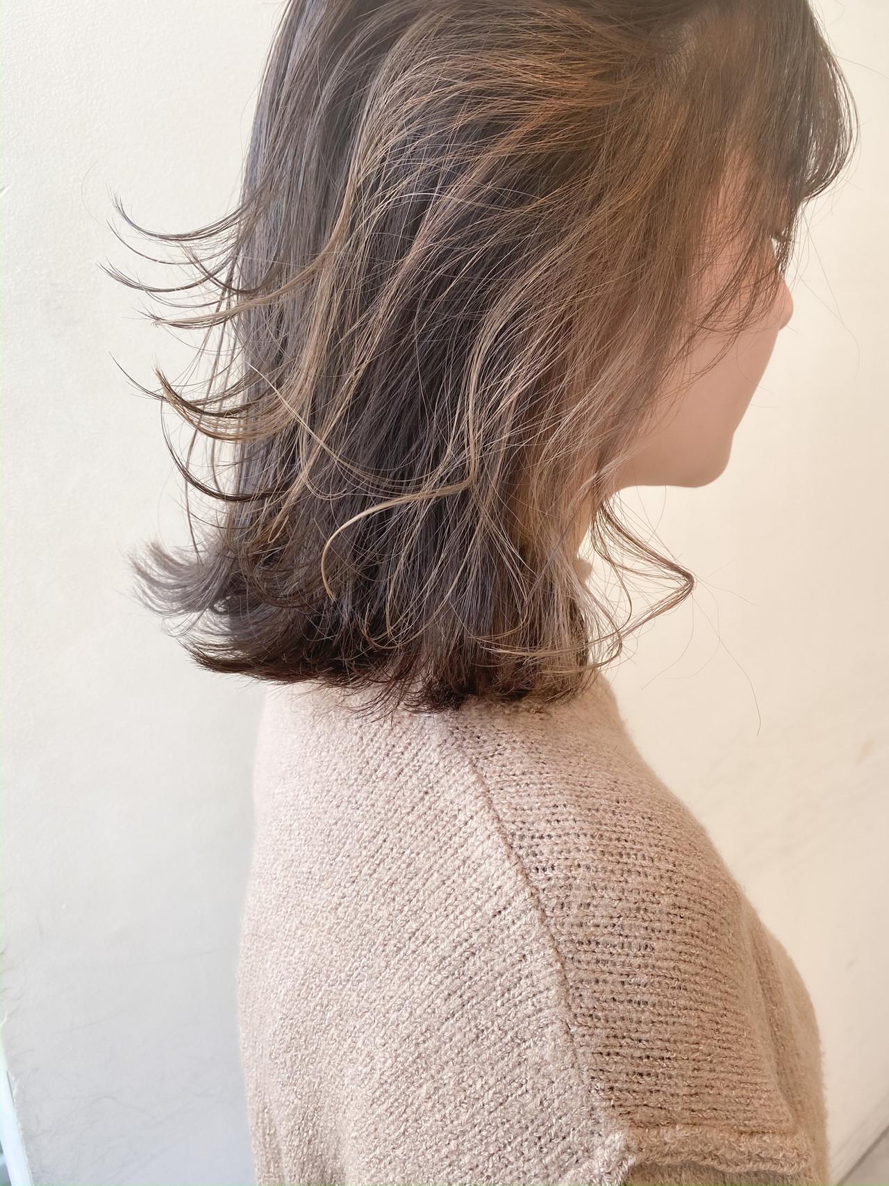 ナチュラル ミルクティーベージュ ボブ インナーカラー ヘアスタイルや髪型の写真・画像 | 村西 郁人 / rue