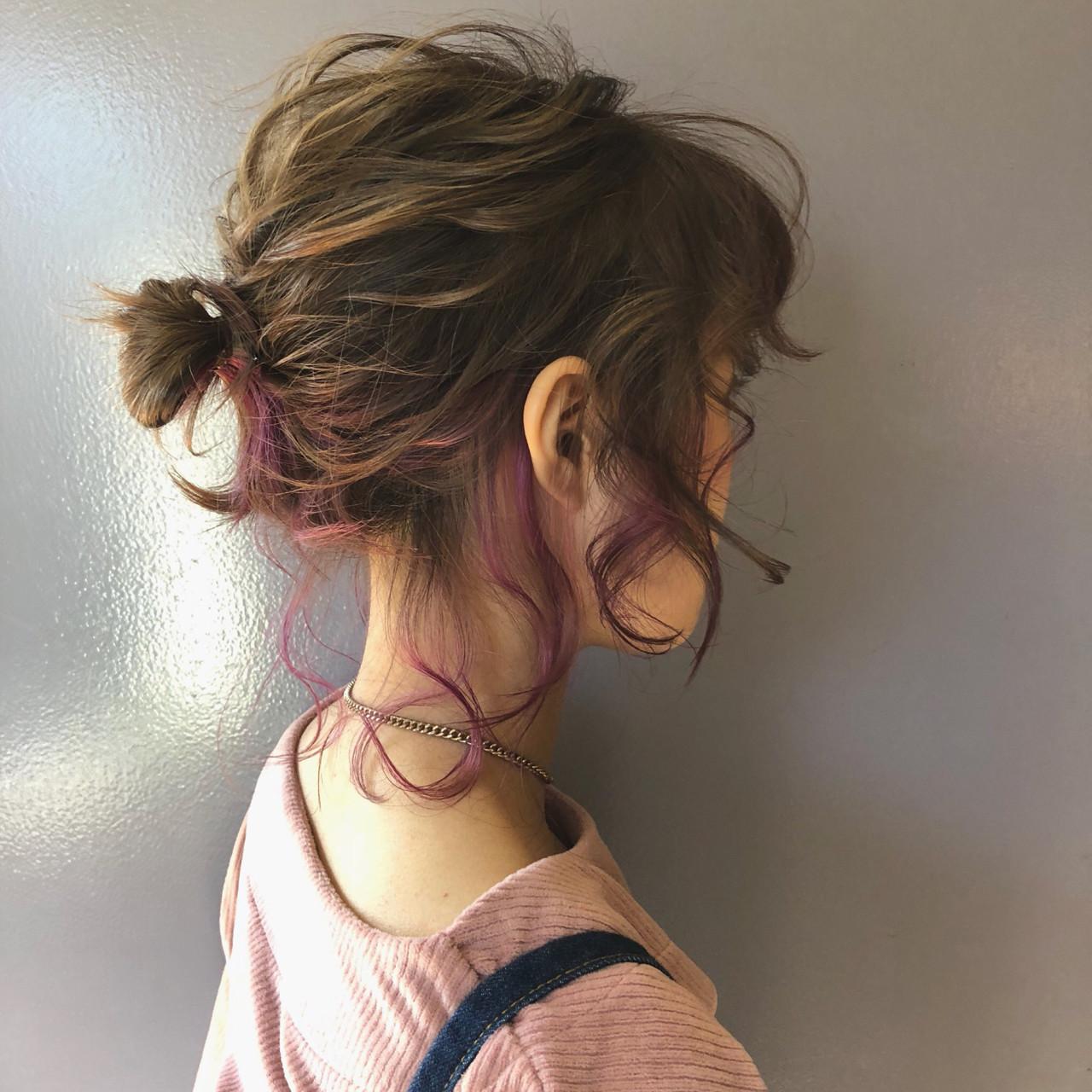 ダブルカラー ガーリー ヘアアレンジ お団子 ヘアスタイルや髪型の写真・画像 | 北里和哉 / far beyond
