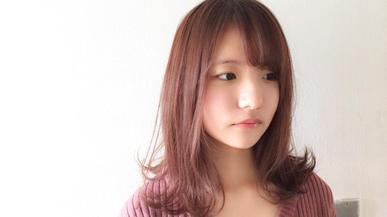 デート ミディアム ピンクアッシュ フェミニン ヘアスタイルや髪型の写真・画像 | Taniguchi Yukiko / IRODORI hair design