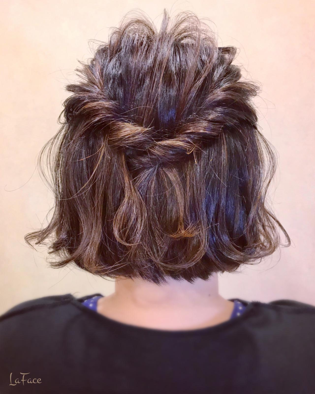デート ボブアレンジ 外ハネボブ フェミニン ヘアスタイルや髪型の写真・画像