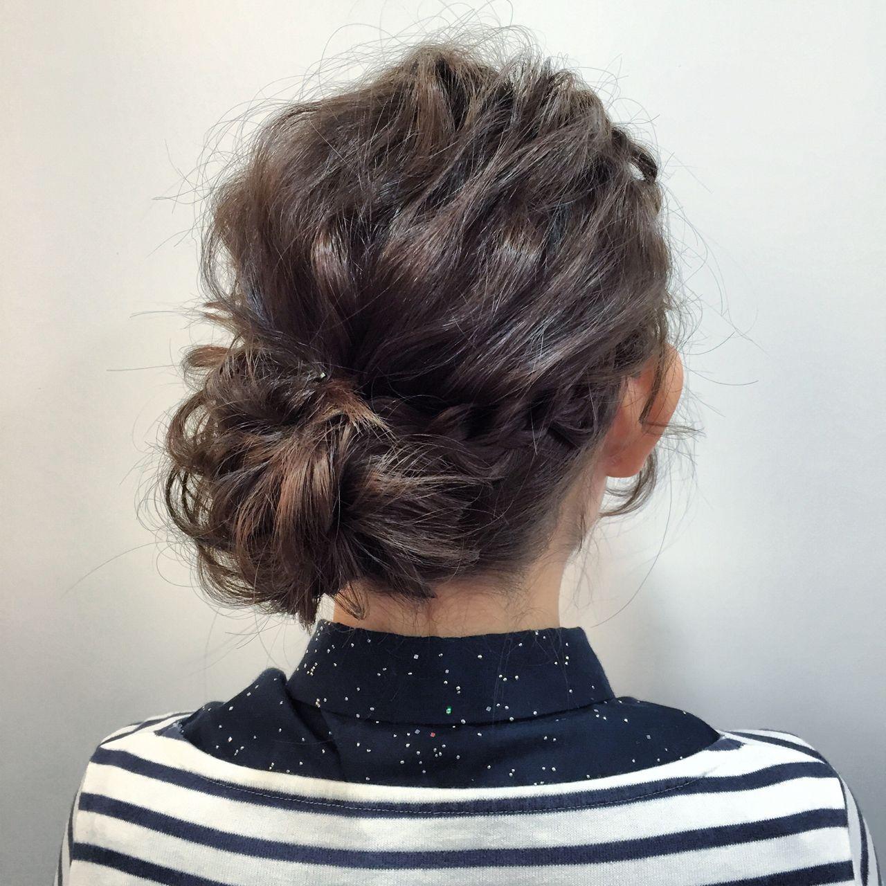 愛され 結婚式 ショート 編み込み ヘアスタイルや髪型の写真・画像