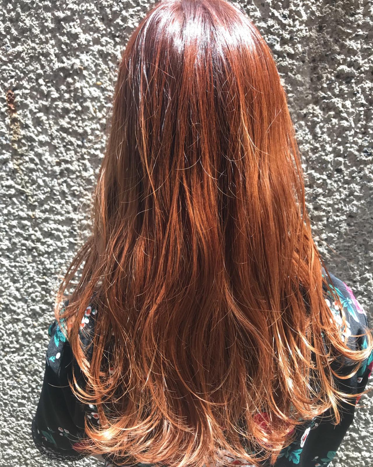 オレンジ 冬 グラデーションカラー ストリート ヘアスタイルや髪型の写真・画像