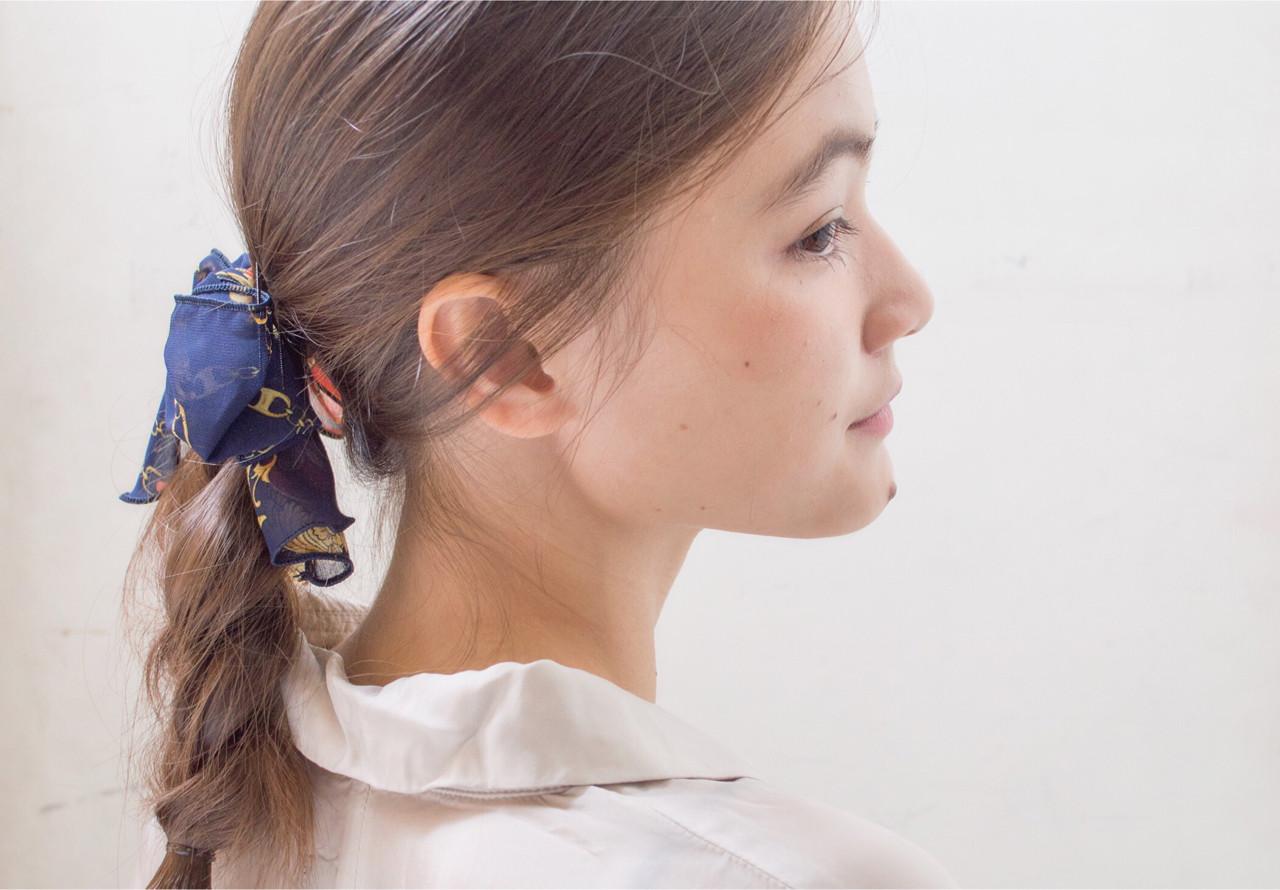 セミロング モード 三つ編み ヘアアレンジ ヘアスタイルや髪型の写真・画像