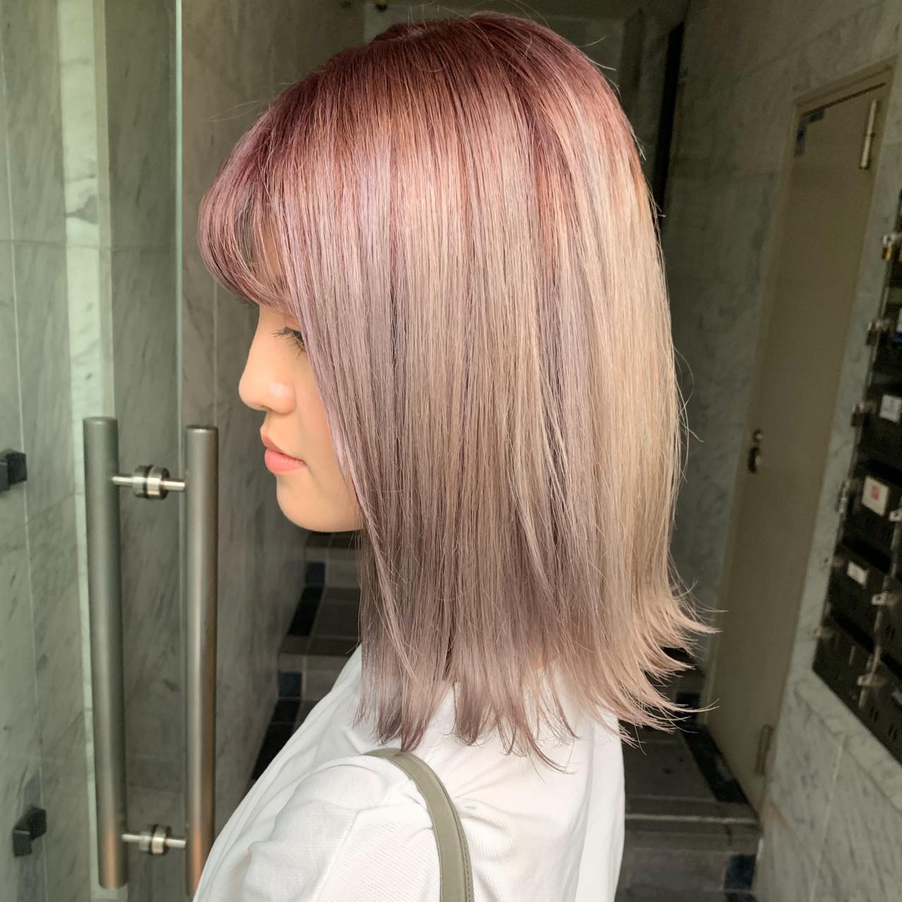 ストリート ハイトーンカラー カジュアル 透明感カラー ヘアスタイルや髪型の写真・画像