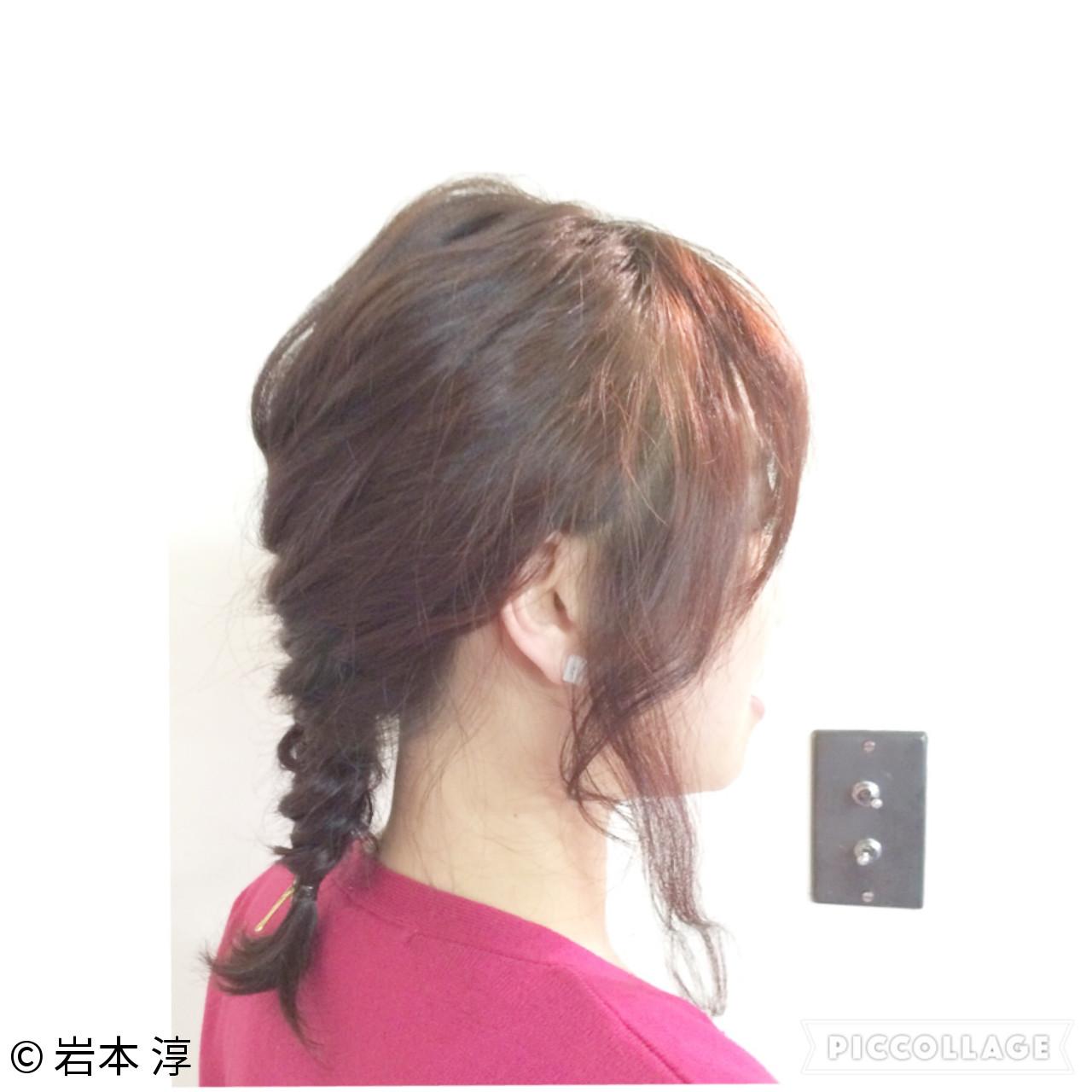 簡単ヘアアレンジ フィッシュボーン 編み込み セミロング ヘアスタイルや髪型の写真・画像