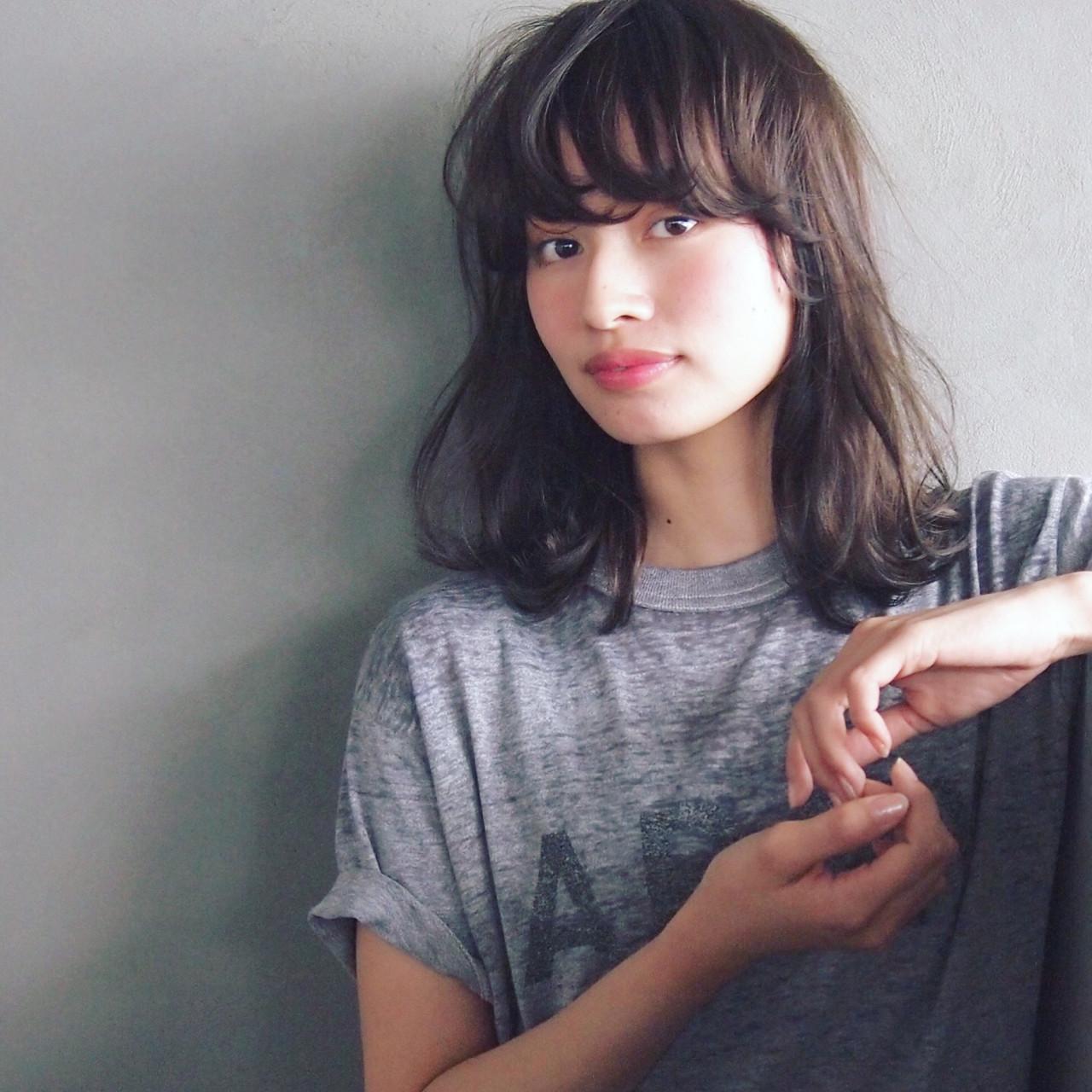 パーマ ブラウン 暗髪 大人かわいい ヘアスタイルや髪型の写真・画像
