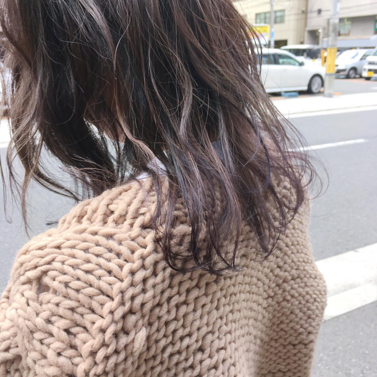ガーリー パープル 外国人風カラー ミディアム ヘアスタイルや髪型の写真・画像