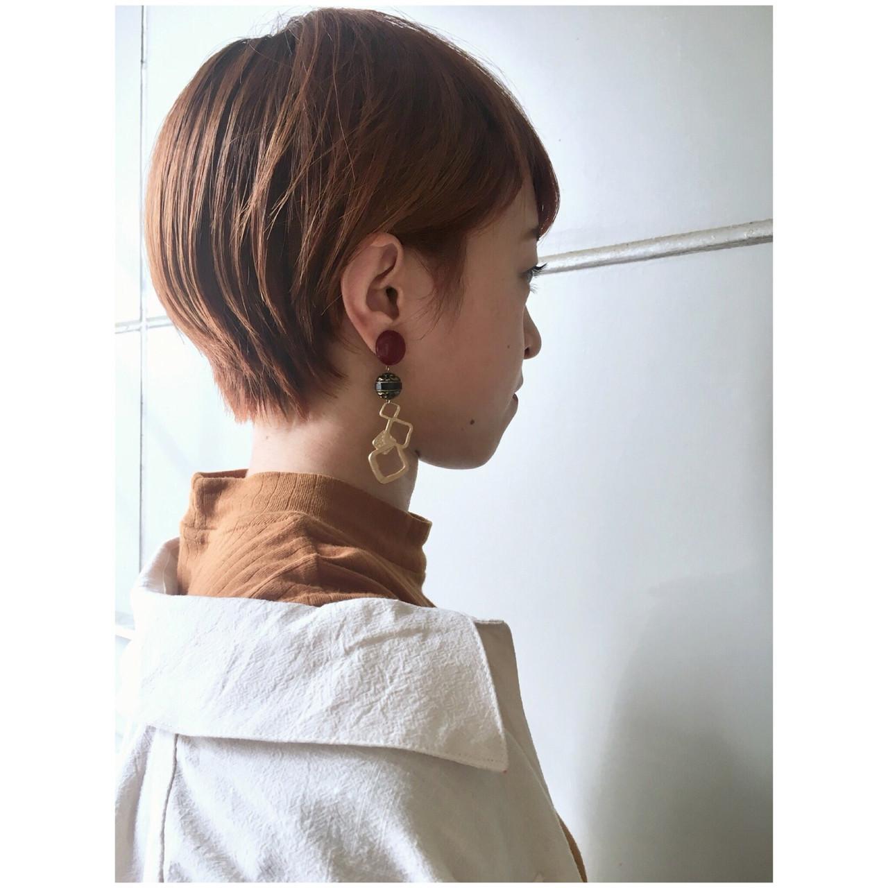 ショートボブ ナチュラル ショート オレンジベージュ ヘアスタイルや髪型の写真・画像 | Yumi Hiramatsu / Sourire Imaizumi【スーリール イマイズミ】