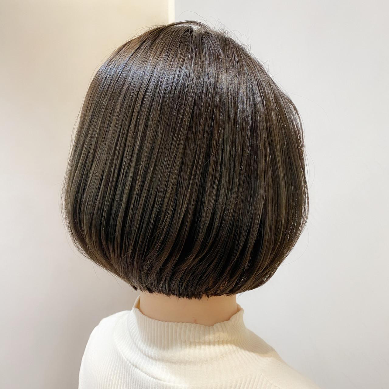 切りっぱなしボブ ボブ ショートボブ 大人可愛い ヘアスタイルや髪型の写真・画像   趙 英来 (よん) / nex