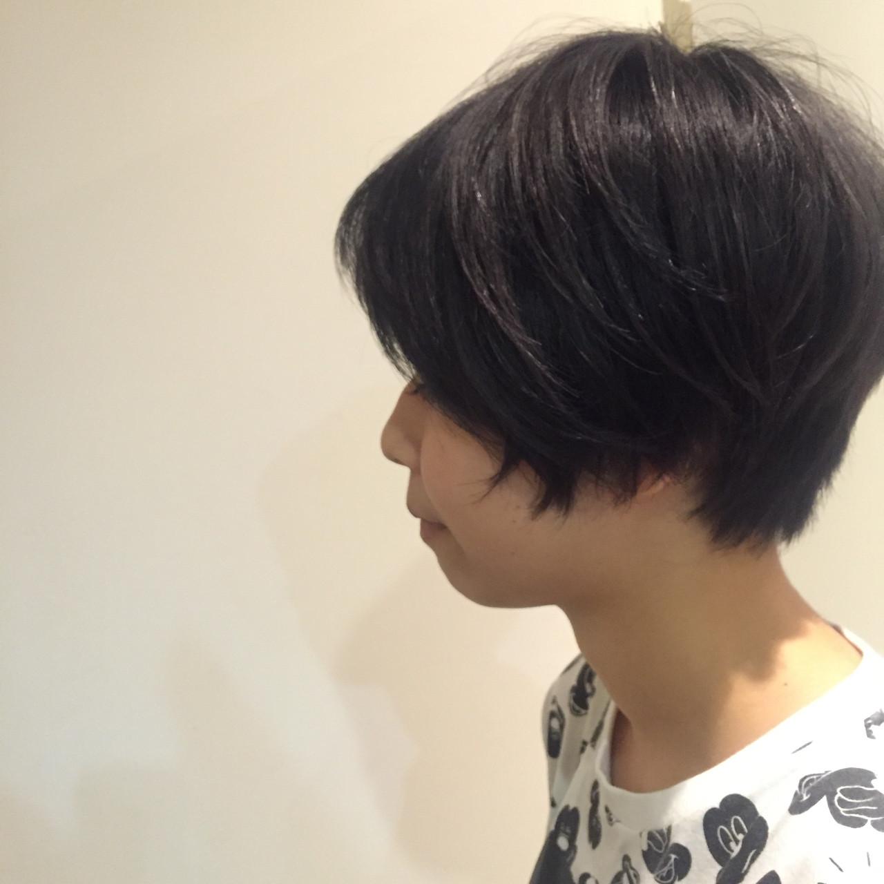 マッシュ ショート ナチュラル 黒髪 ヘアスタイルや髪型の写真・画像