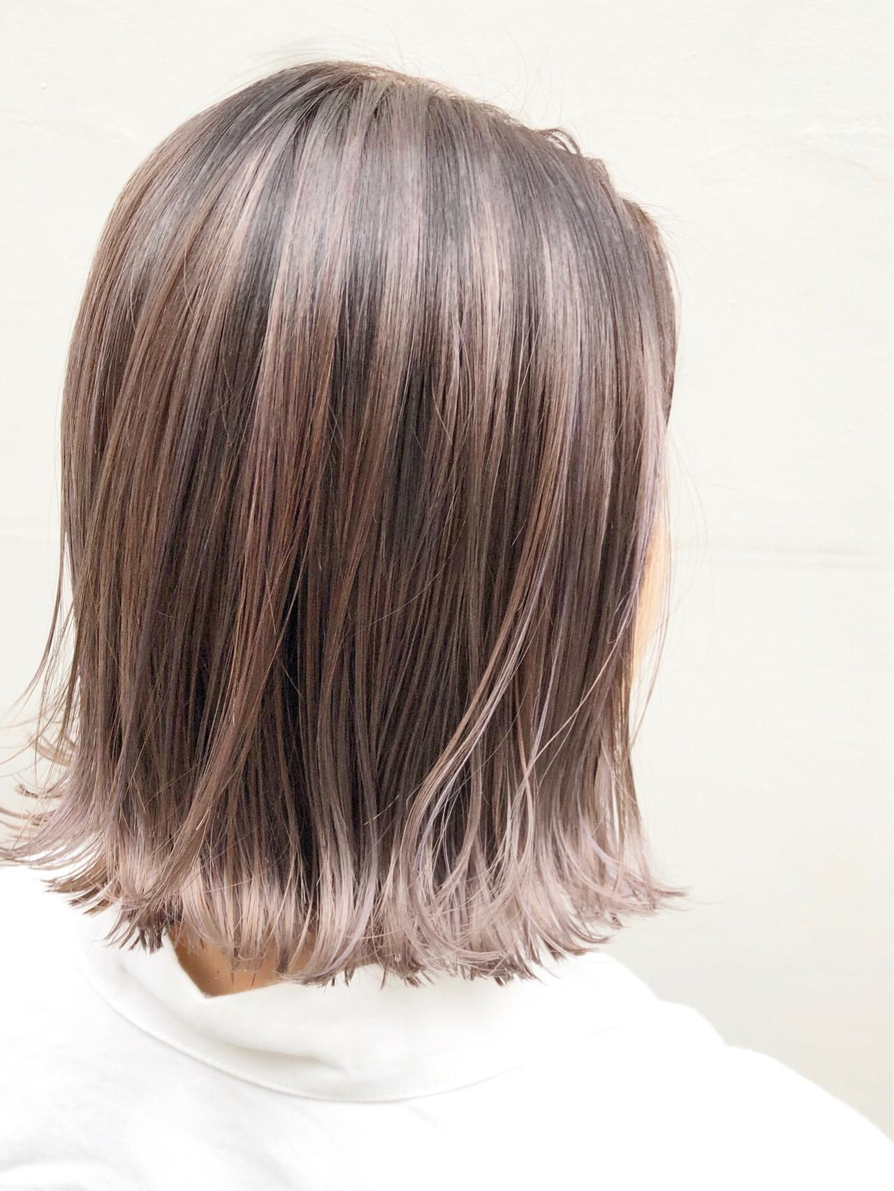 インナーカラー ナチュラル ボブ ショートボブ ヘアスタイルや髪型の写真・画像