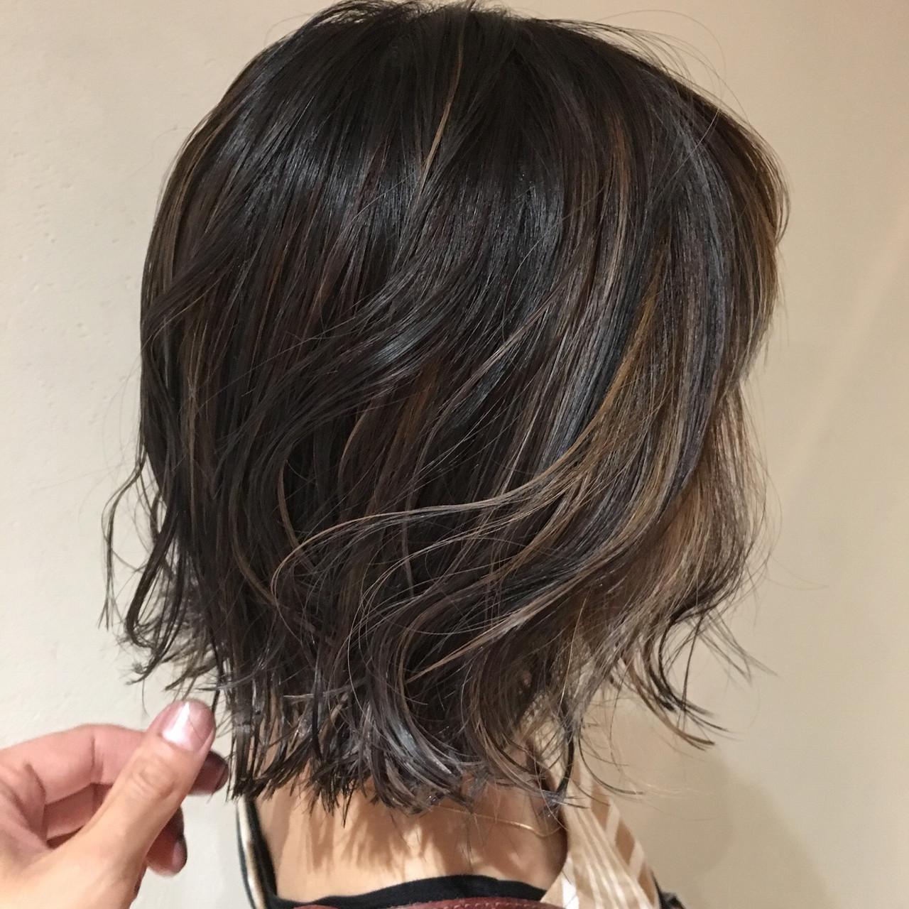 ハイライト ボブ 大人ハイライト ストリート ヘアスタイルや髪型の写真・画像