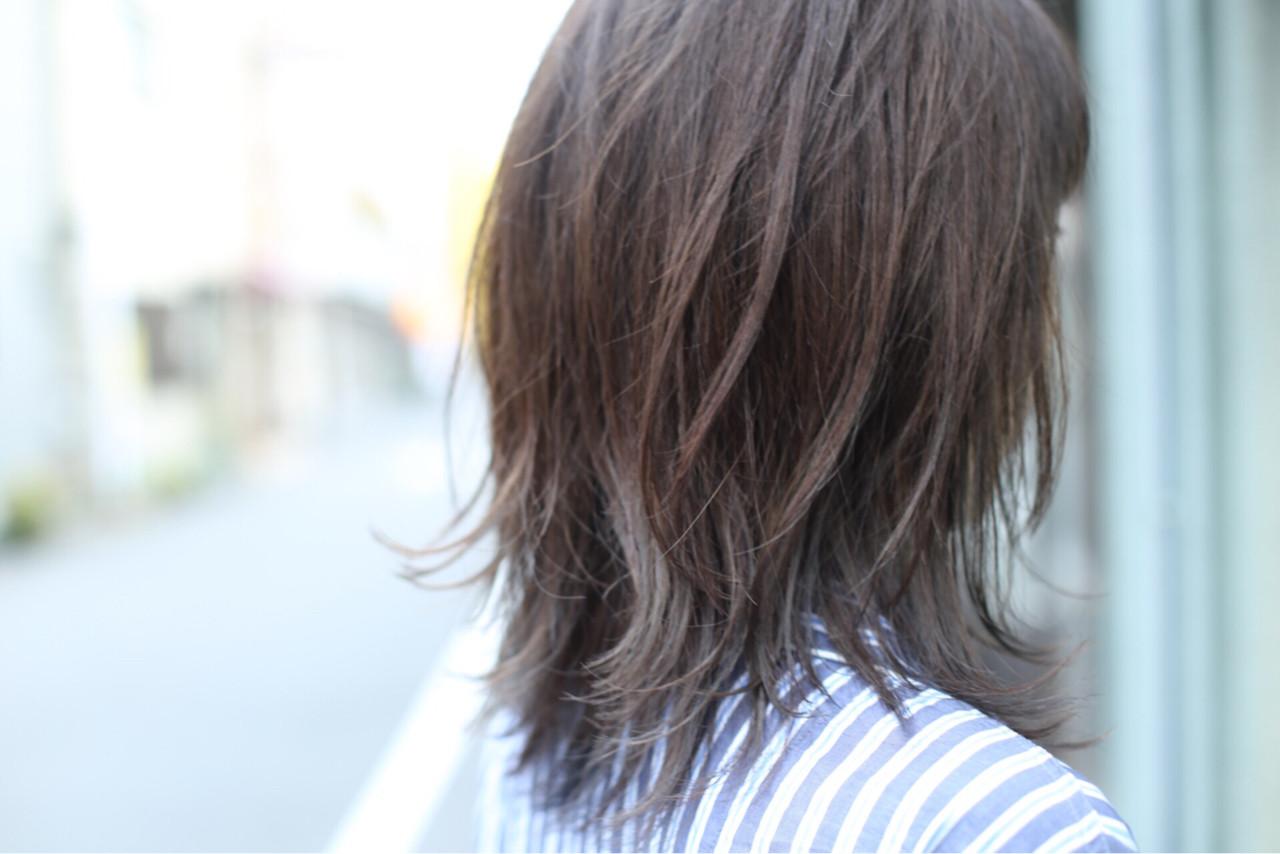 グラデーションカラー アッシュ セミロング ストリート ヘアスタイルや髪型の写真・画像