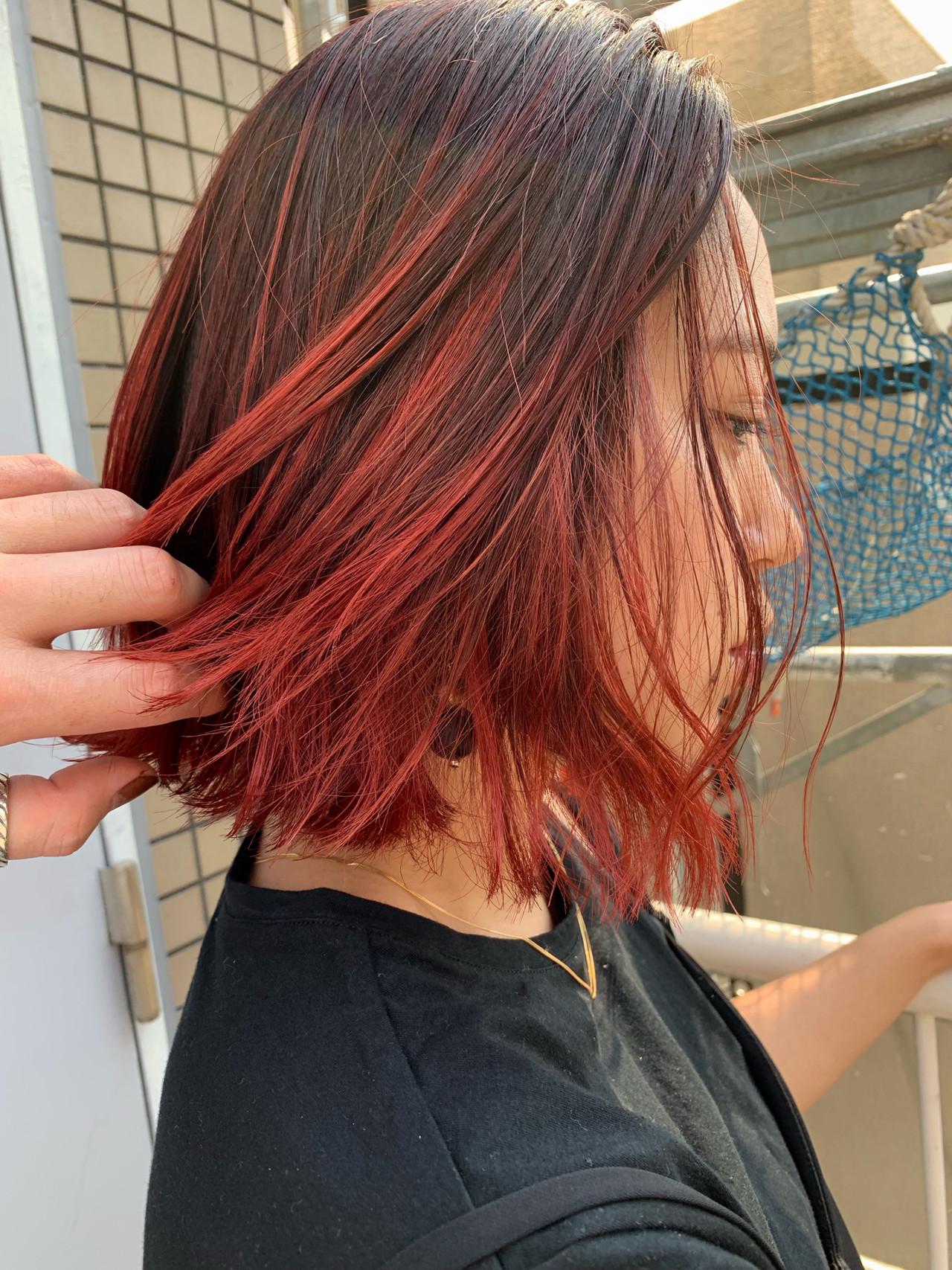 ストリート レッドカラー ボブ 3Dハイライト ヘアスタイルや髪型の写真・画像