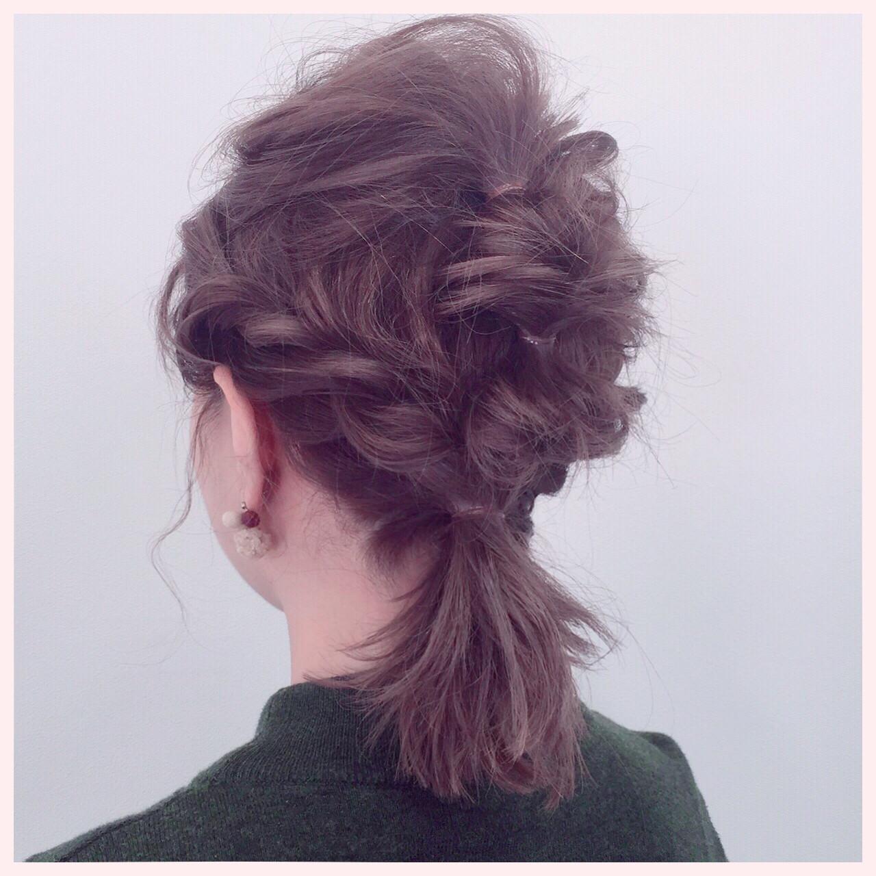 編み込み ミディアム ロープ編み ショート ヘアスタイルや髪型の写真・画像