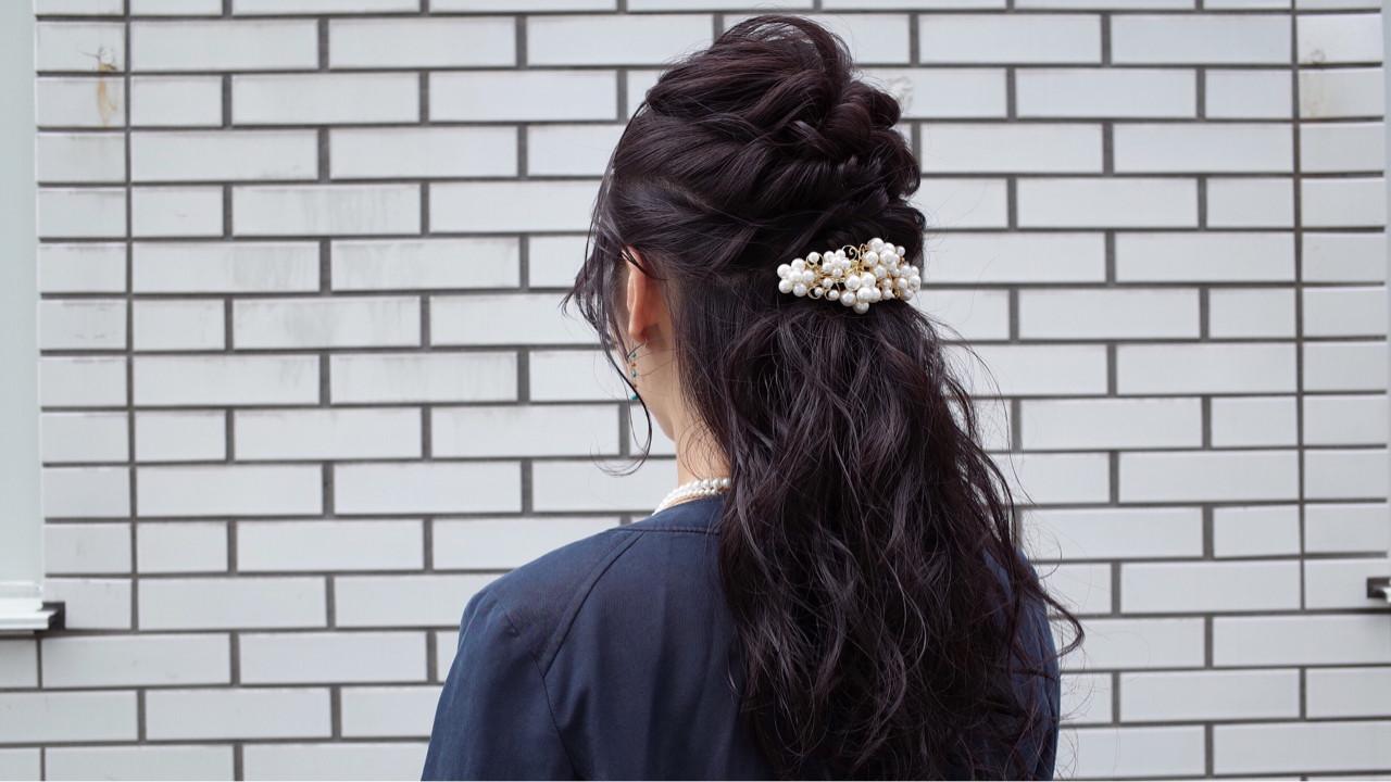 ハーフアップ ロング 暗髪 ショート ヘアスタイルや髪型の写真・画像