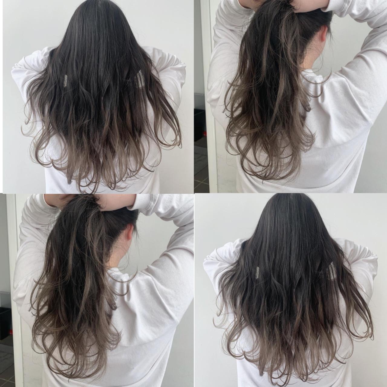 グラデーションカラー ロング モテ髪 アッシュグレージュ ヘアスタイルや髪型の写真・画像
