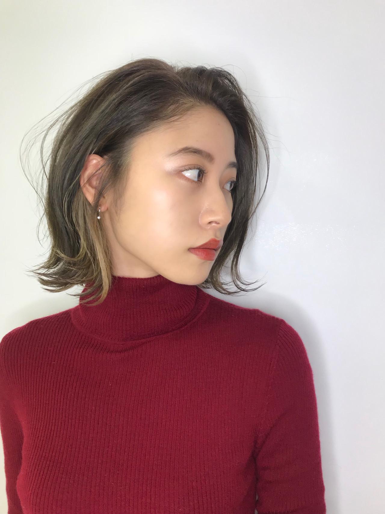 モード ボブ インナーカラー キコボブ ヘアスタイルや髪型の写真・画像