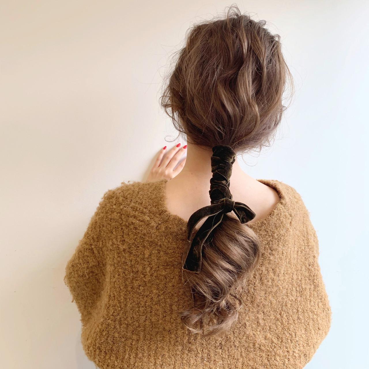 ゆるふわ ナチュラル ヘアアレンジ デート ヘアスタイルや髪型の写真・画像